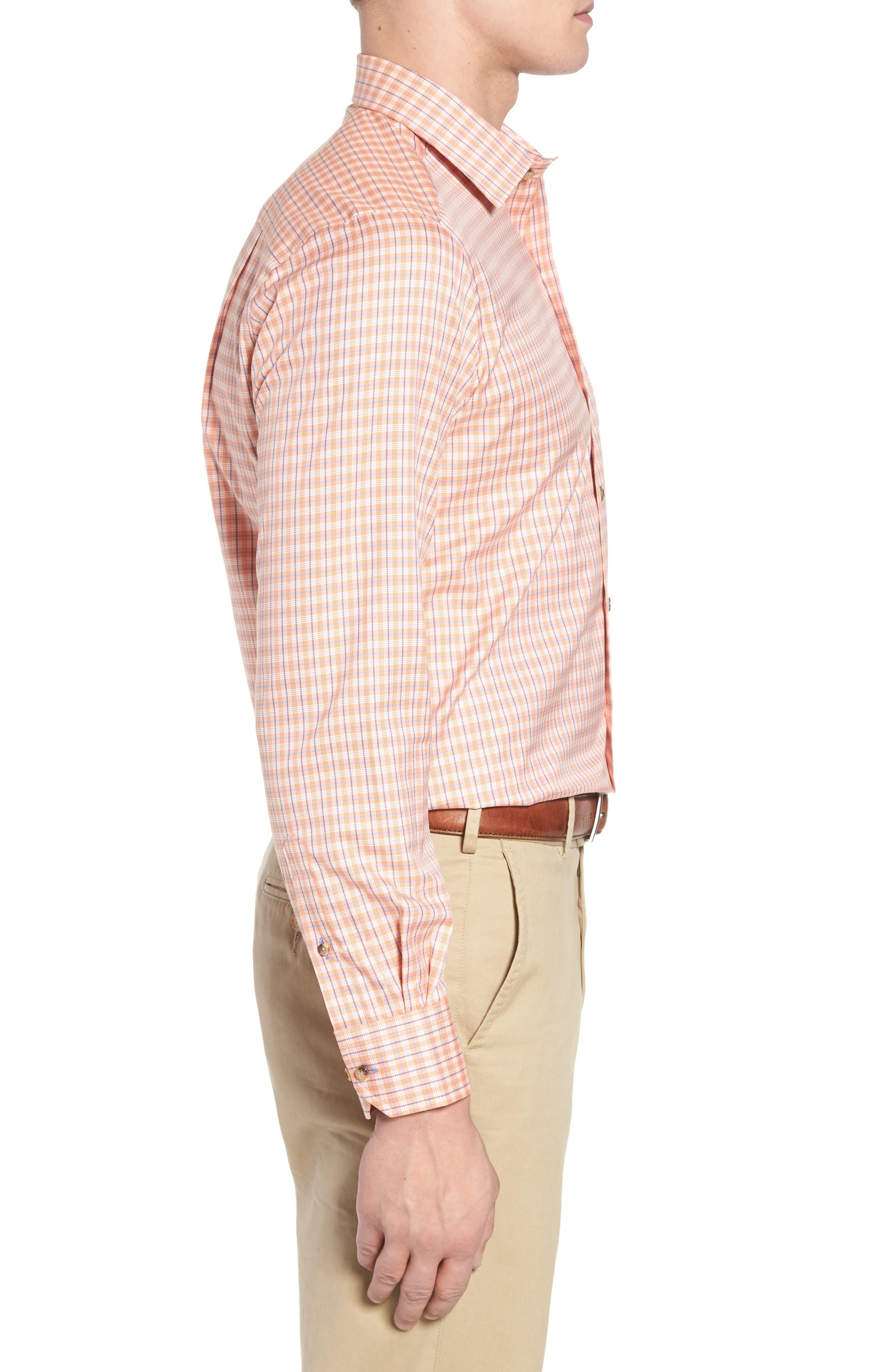 Regular Fit Plaid Sport Shirt,                             Alternate thumbnail 3, color,                             Melon