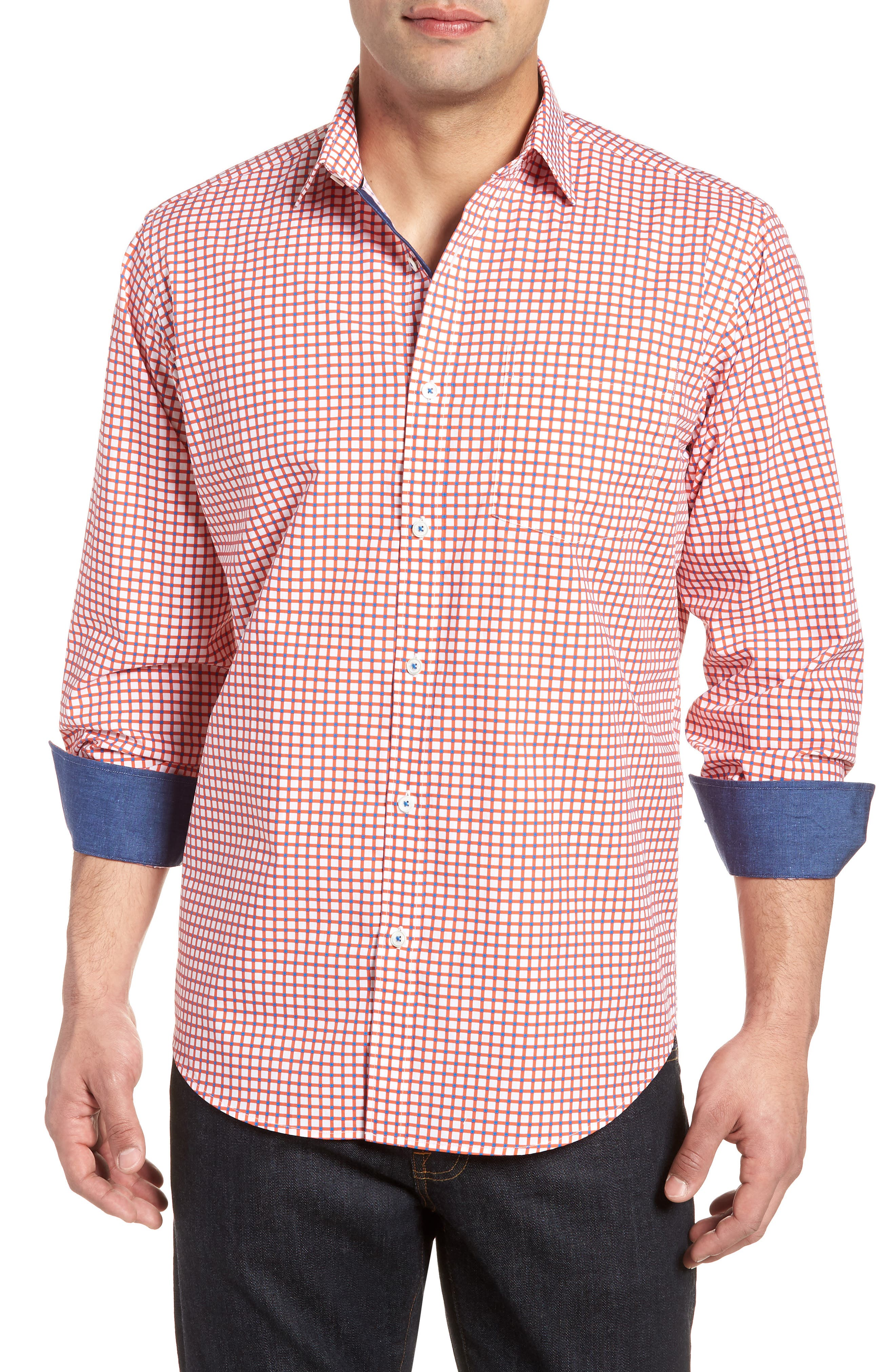 Classic Fit Check Sport Shirt,                         Main,                         color, Tangerine