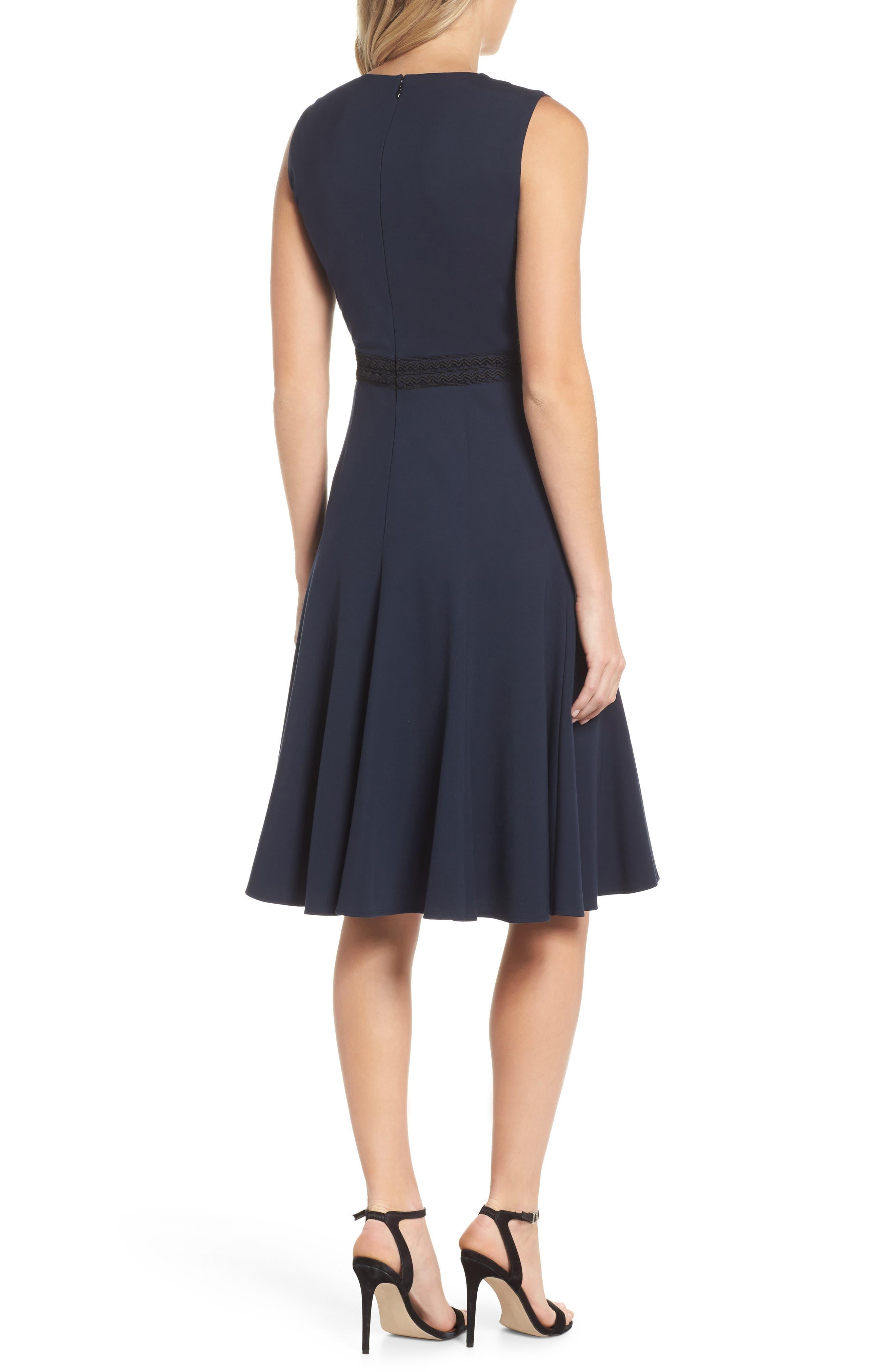 Hazel Lace Trim V-Neck Dress,                             Alternate thumbnail 2, color,                             Midnight Blue/ Black