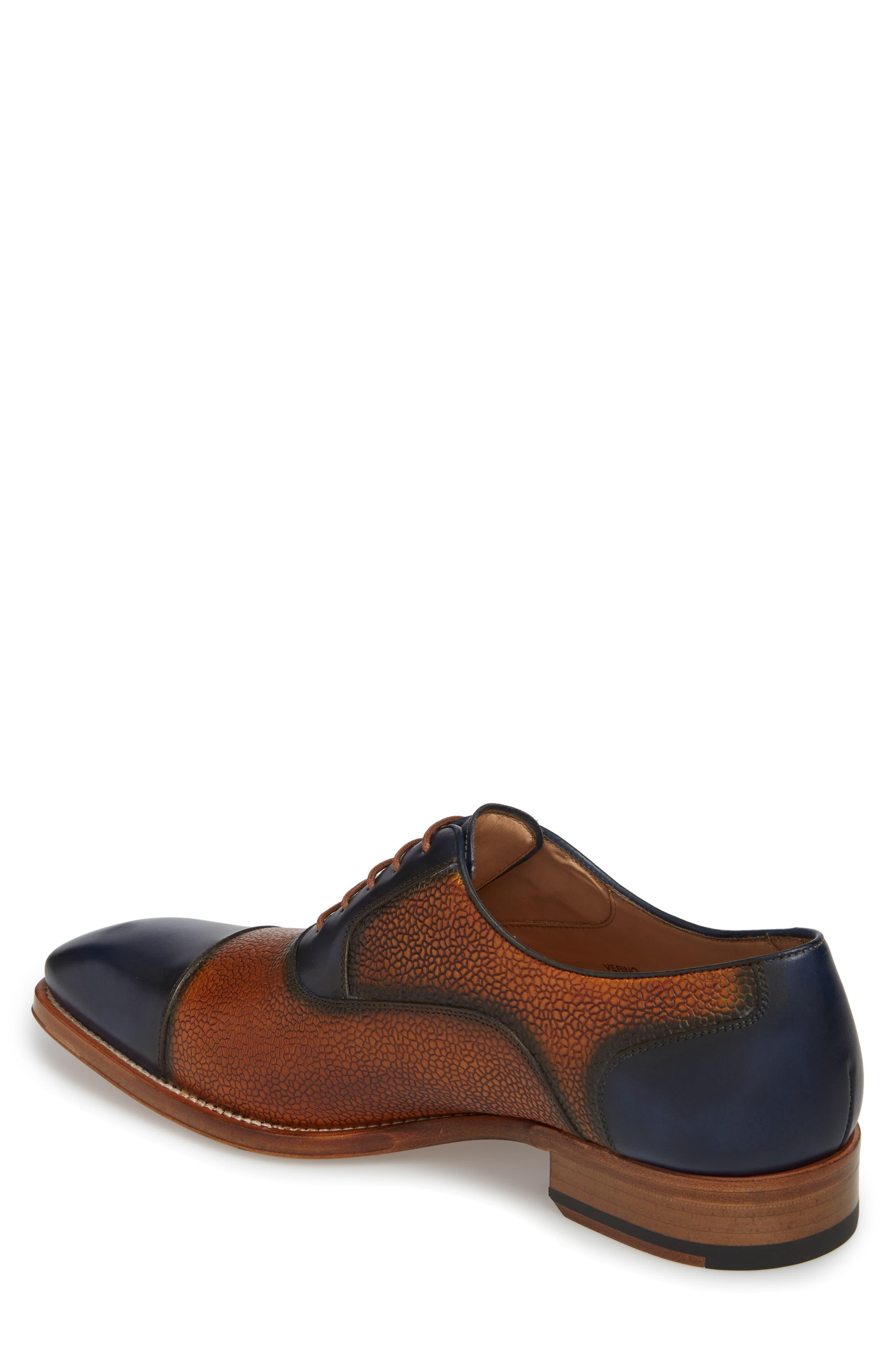 Verino Cap Toe Oxford,                             Alternate thumbnail 2, color,                             Blue/ Tan Leather