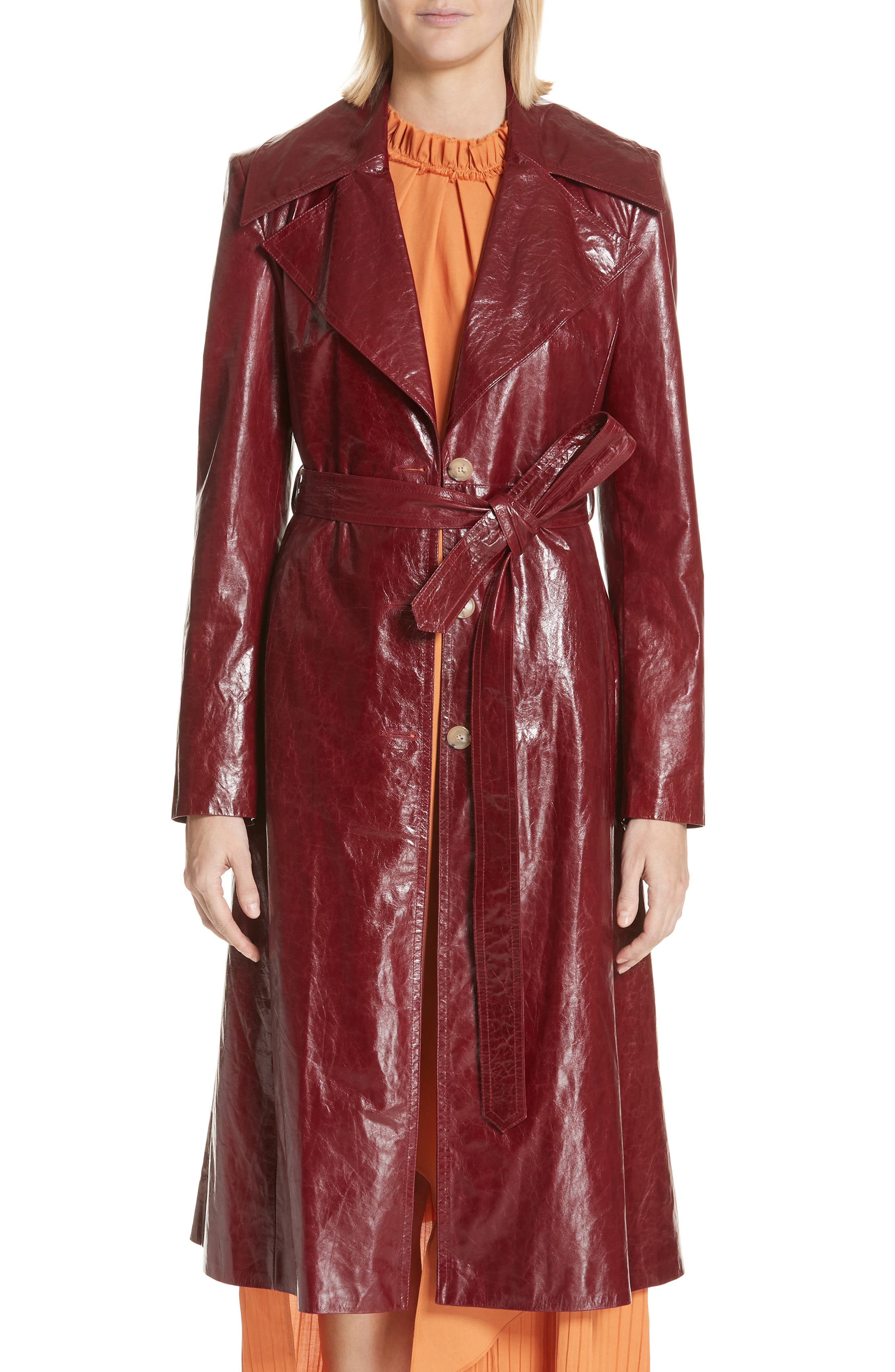 Leather Trench Coat,                             Main thumbnail 1, color,                             Bordeaux