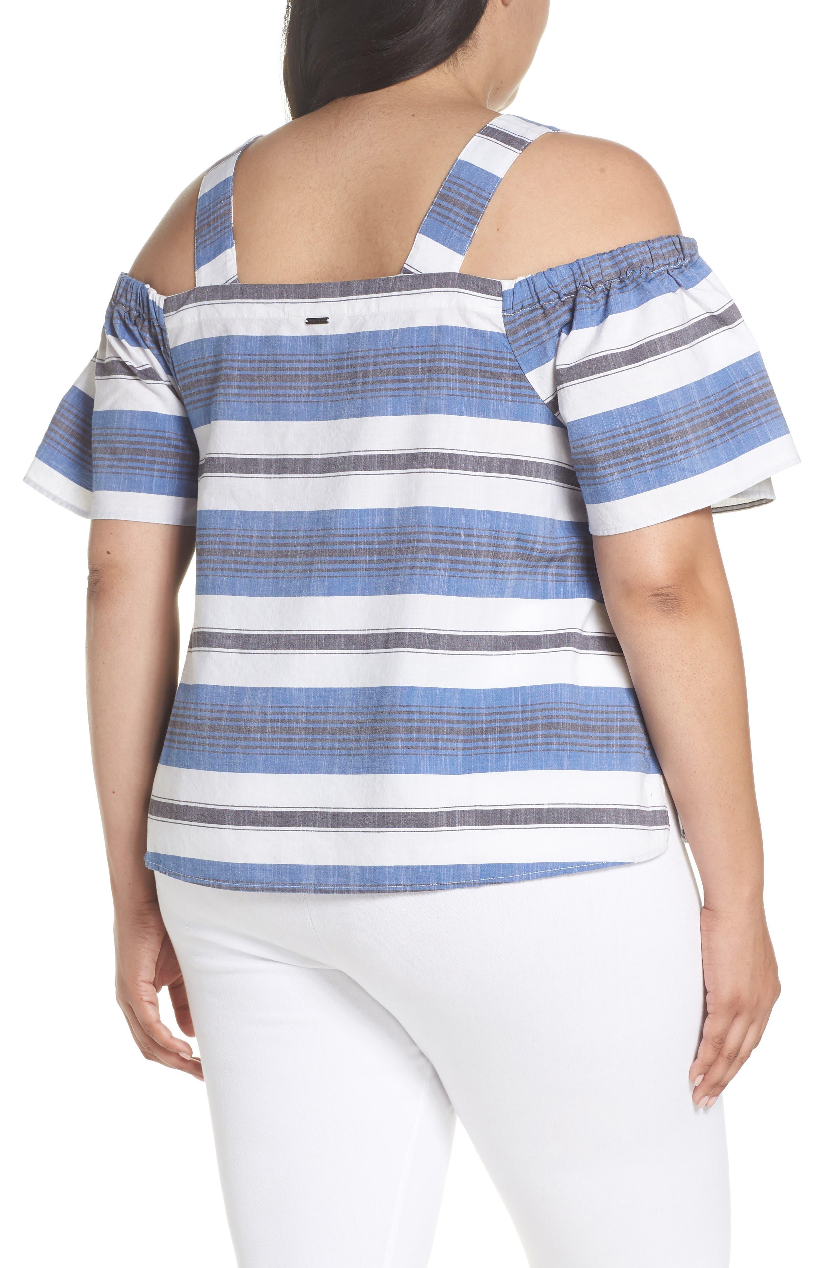 Cold Shoulder Stripe Top,                             Alternate thumbnail 2, color,                             Blue Multi