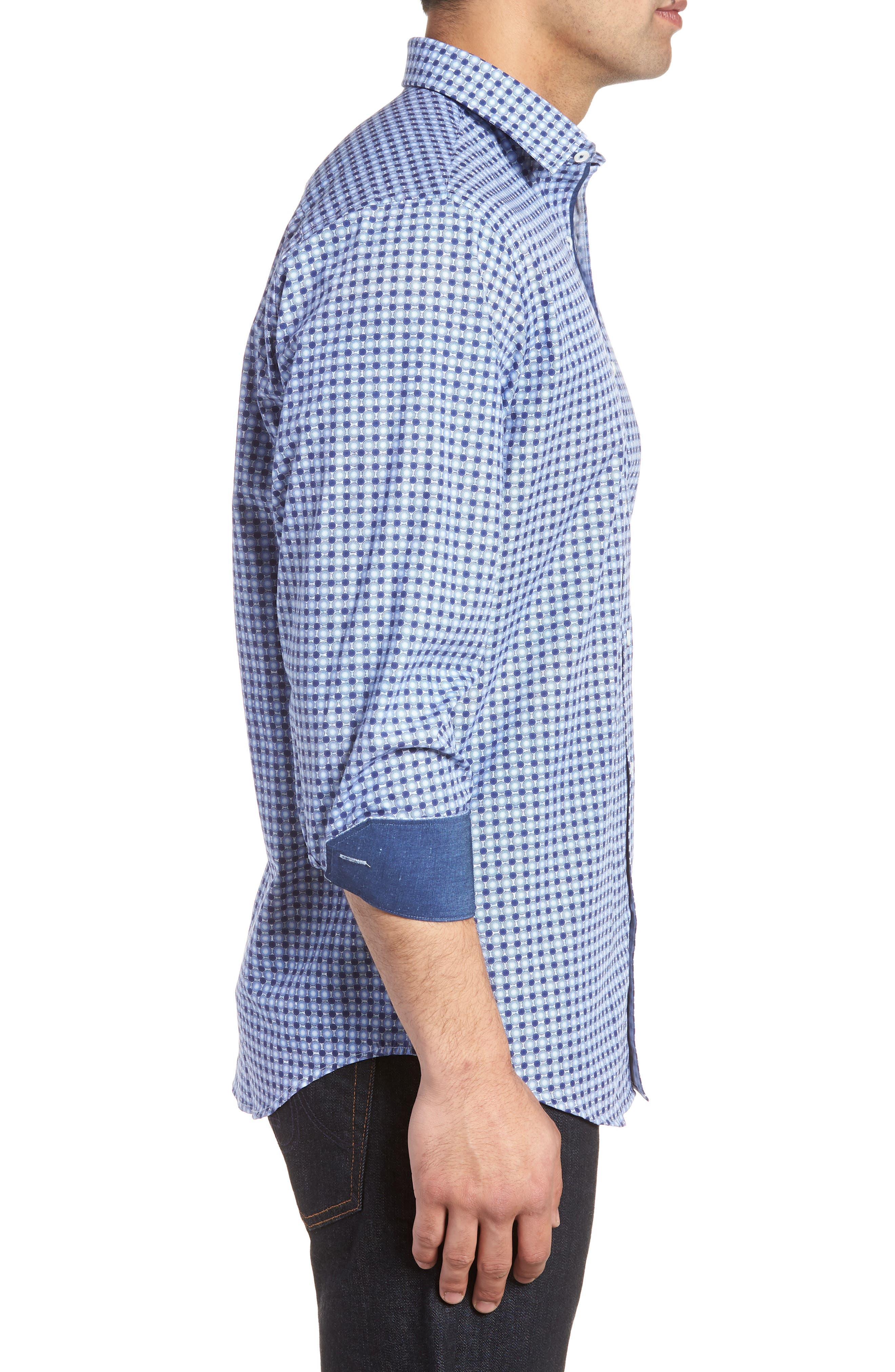 Classic Fit Woven Sport Shirt,                             Alternate thumbnail 3, color,                             Navy