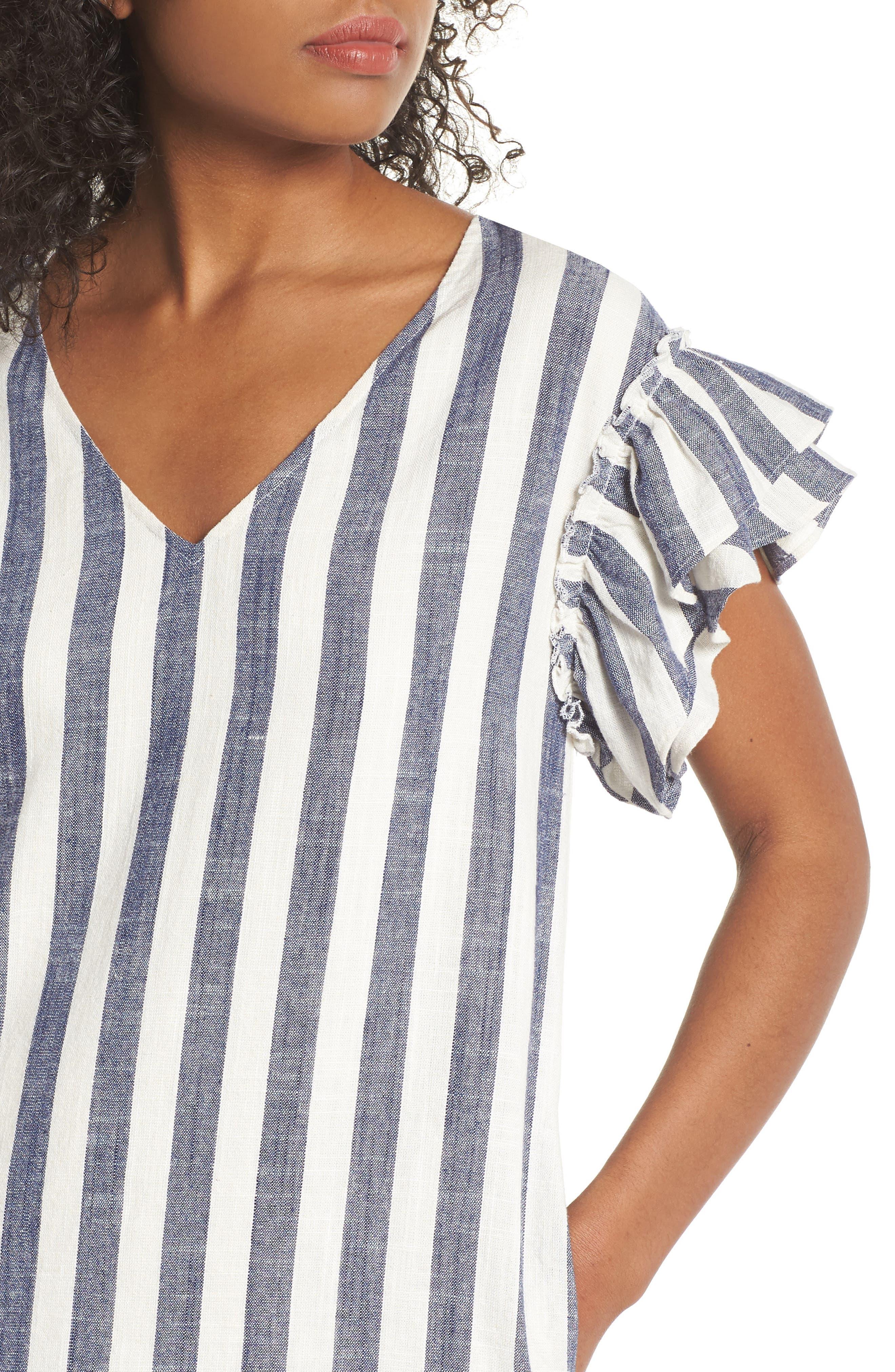 Ruffle Sleeve Shift Dress,                             Alternate thumbnail 4, color,                             Navy-White