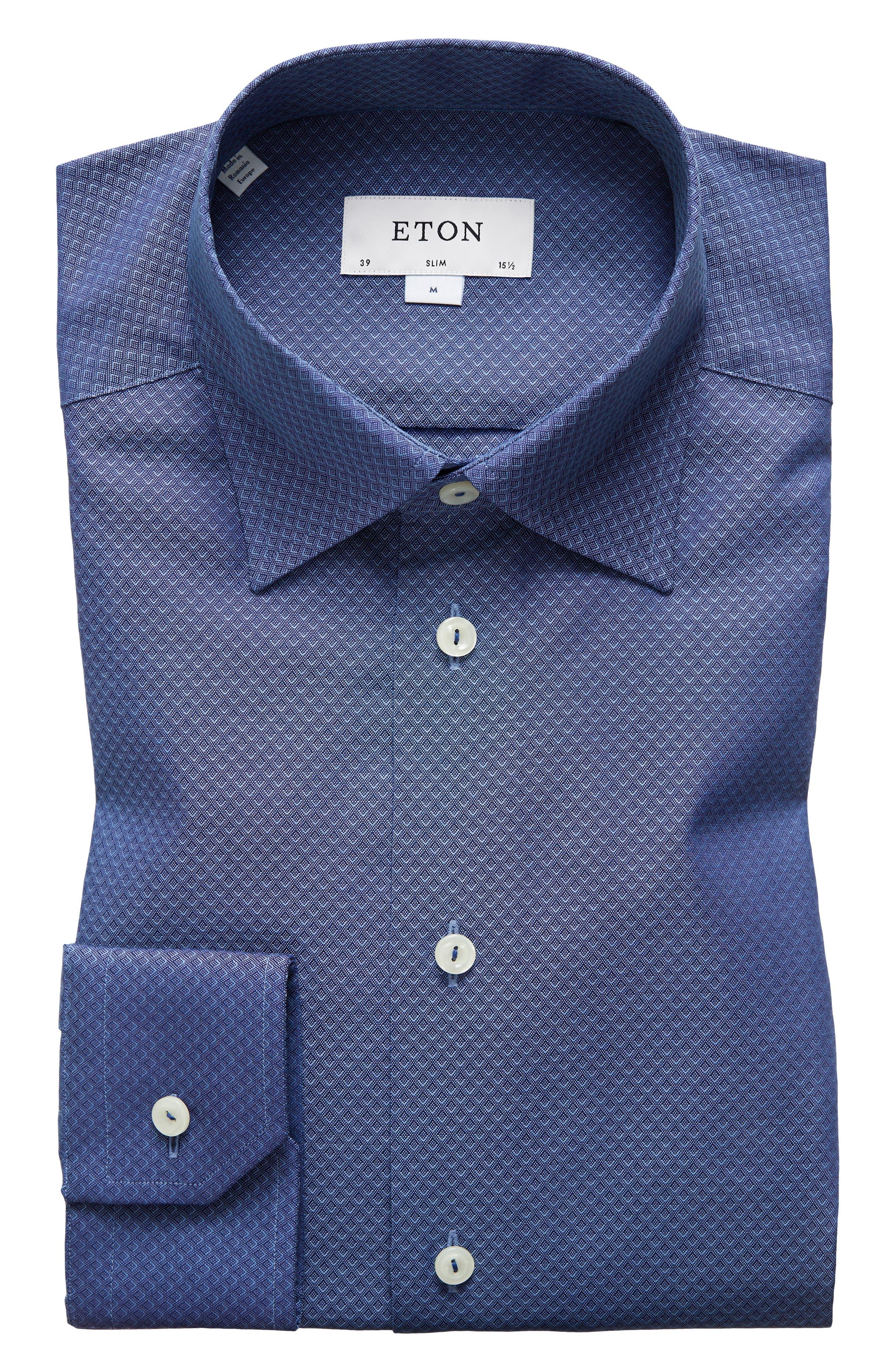 Slim Fit Diamond Print Dress Shirt,                         Main,                         color, Blue