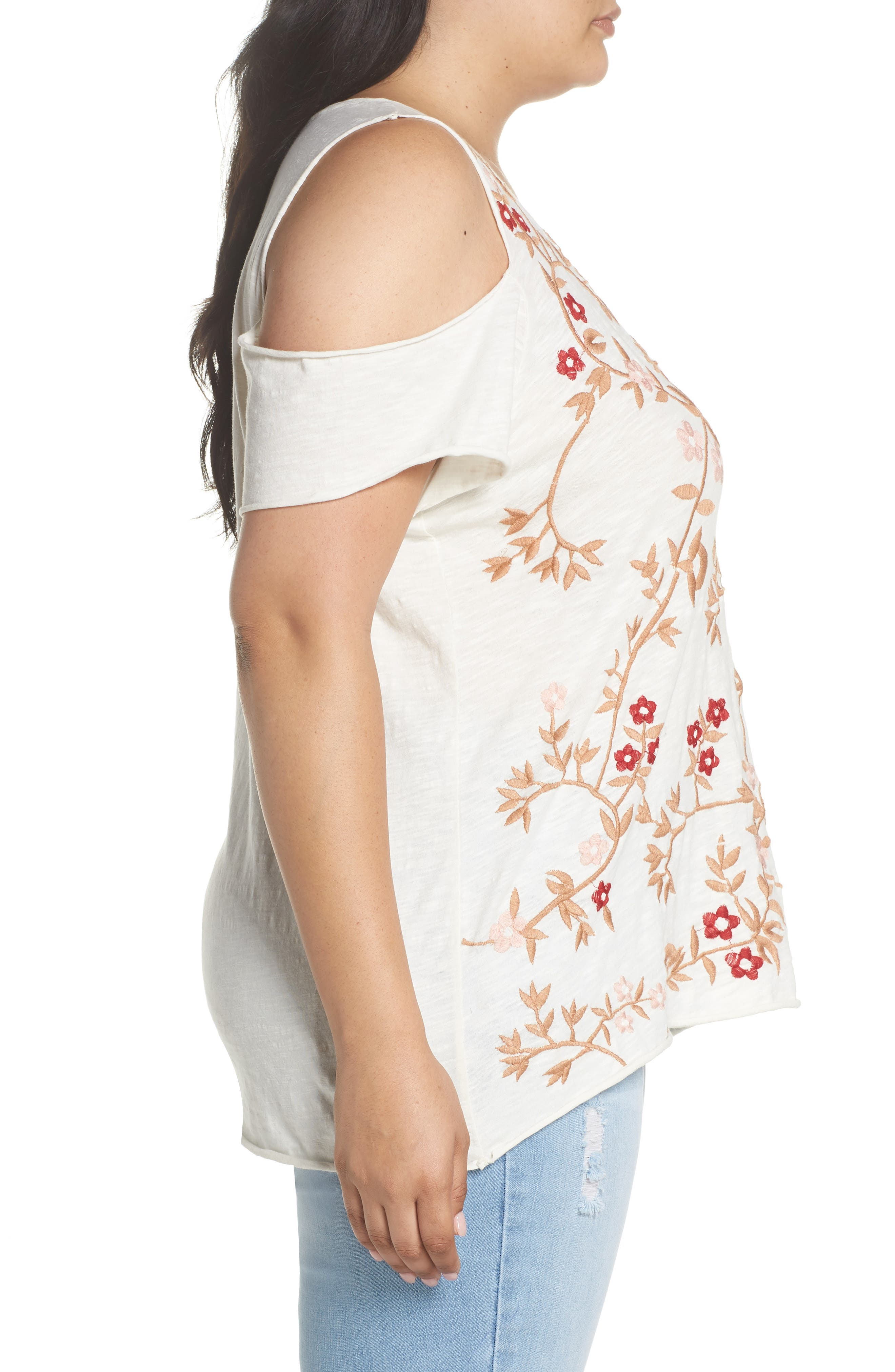 Alternate Image 3  - Lucky Brand Floral Embroidered Tee (Plus Size)