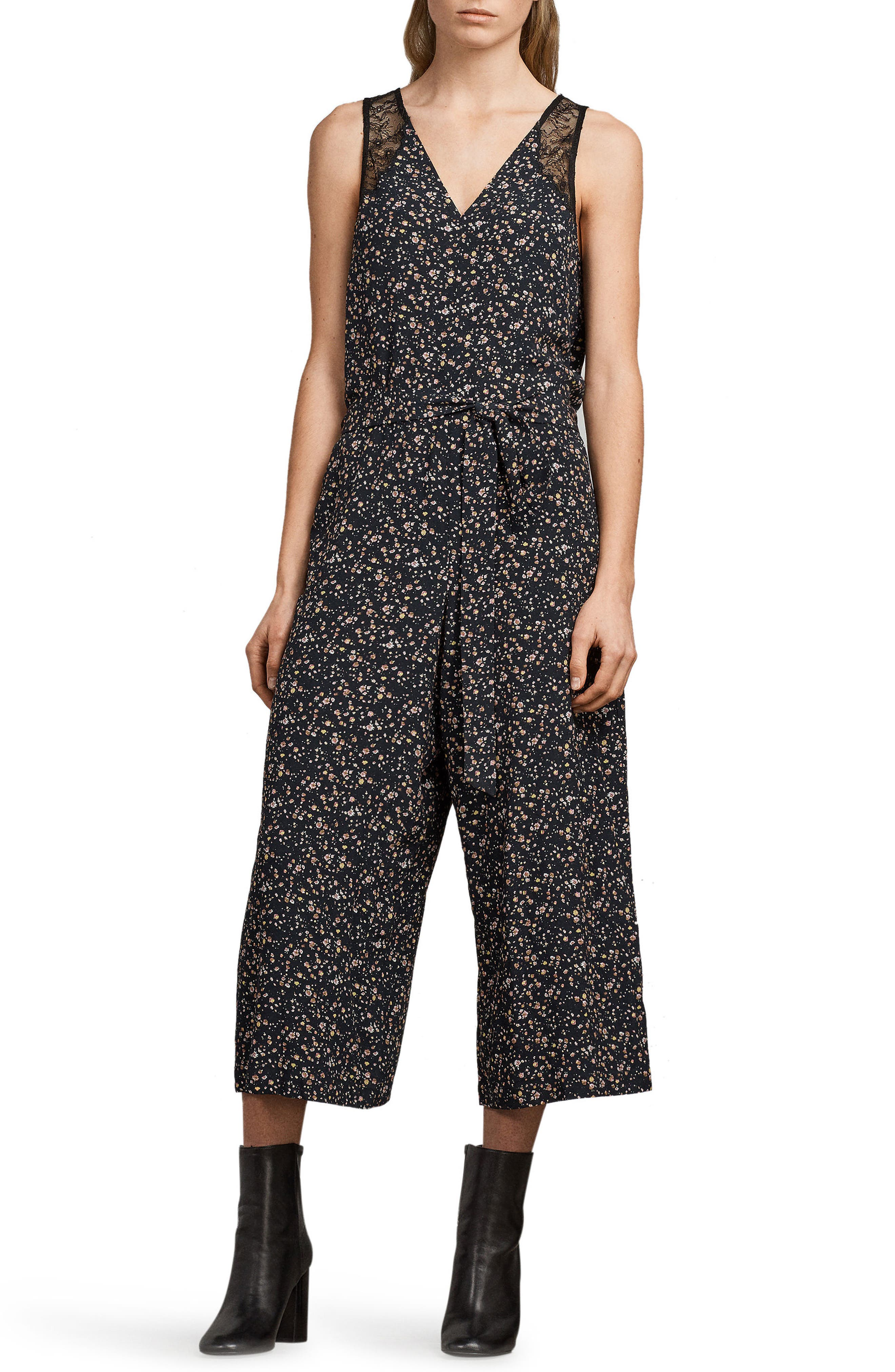 Cate Pepper Crop Jumpsuit,                         Main,                         color, Black