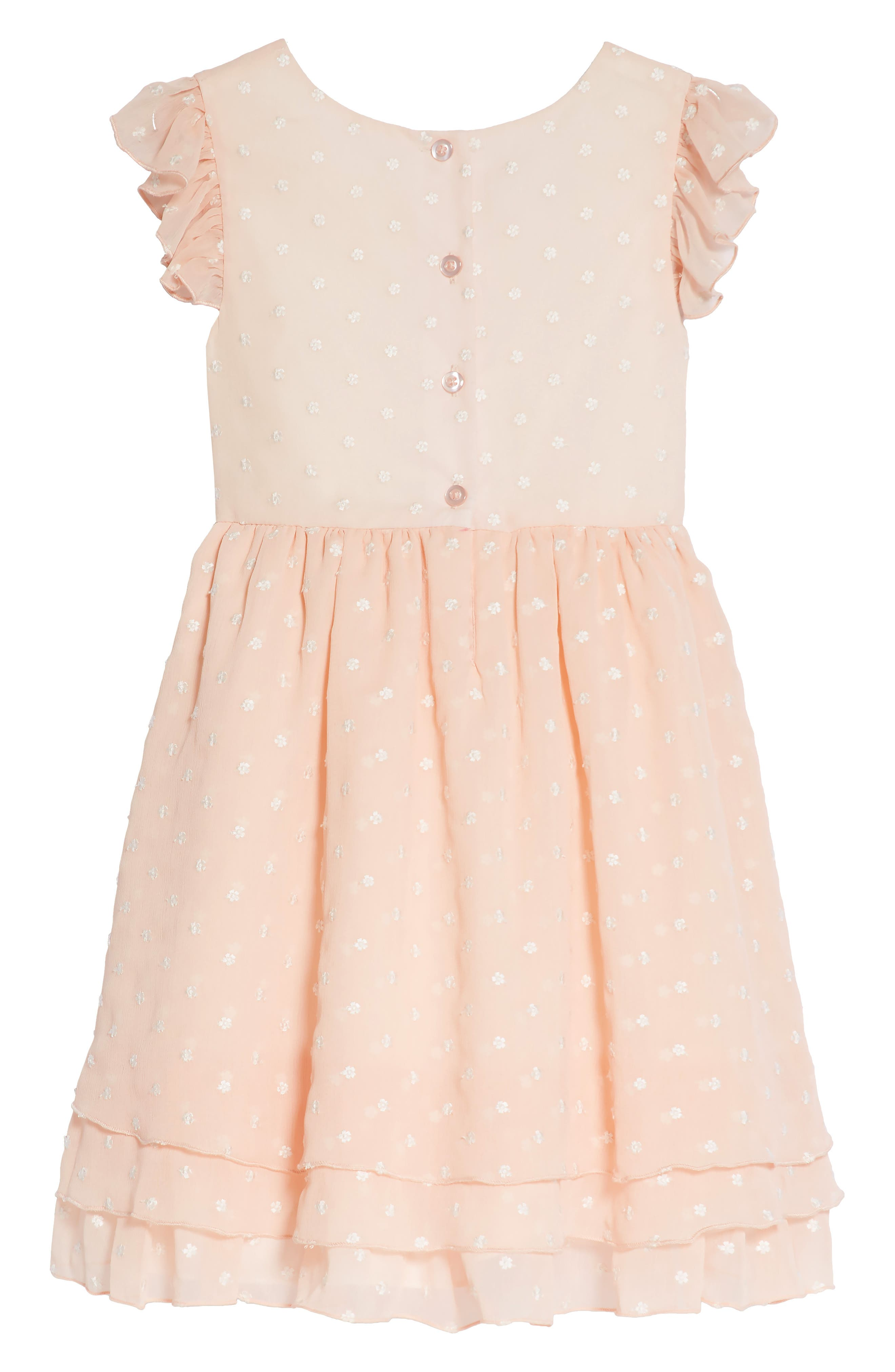Embroidered Crinkle Chiffon Dress,                             Alternate thumbnail 2, color,                             Peach