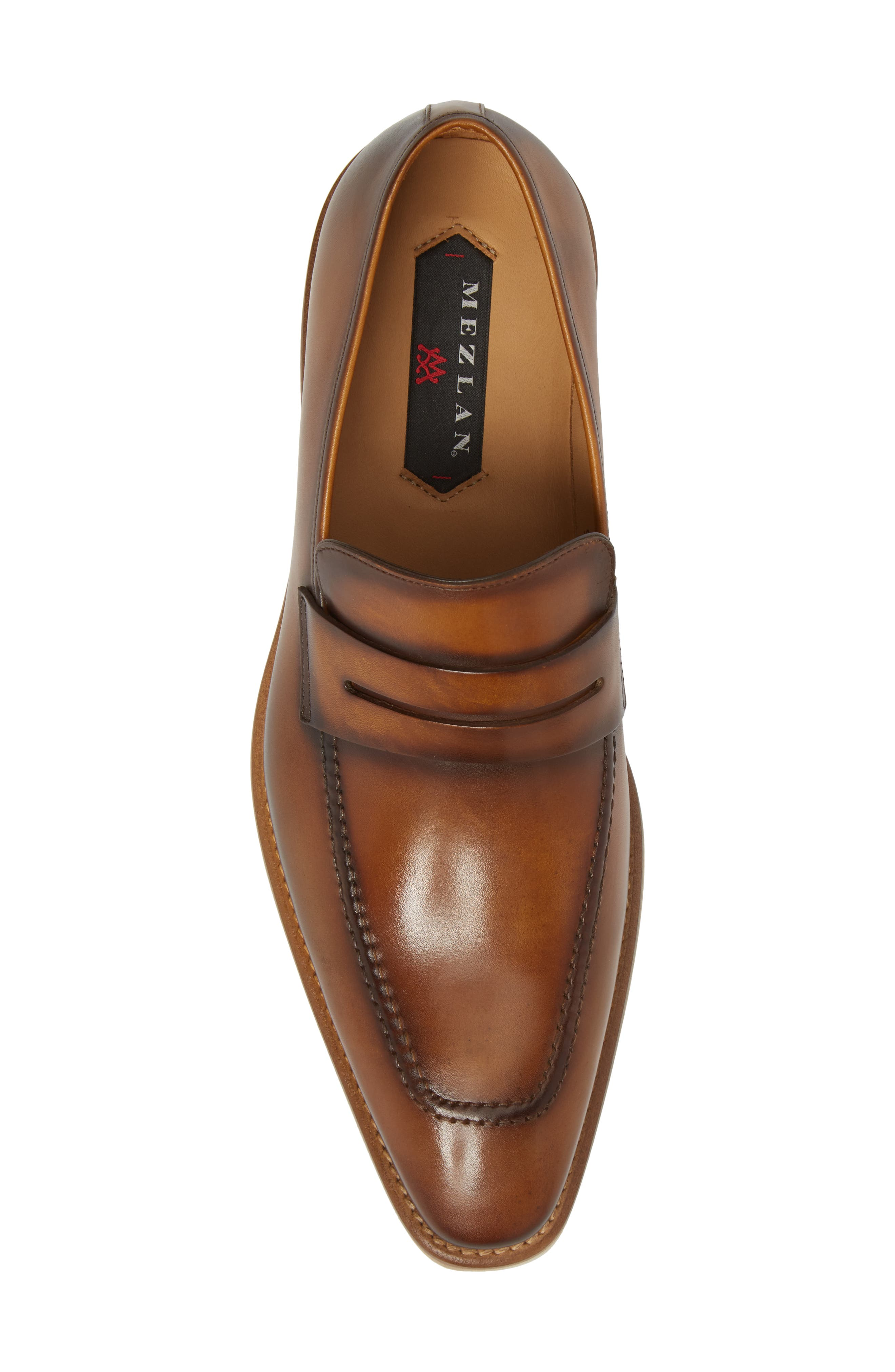 Castor Apron Toe Penny Loafer,                             Alternate thumbnail 5, color,                             Honey Leather