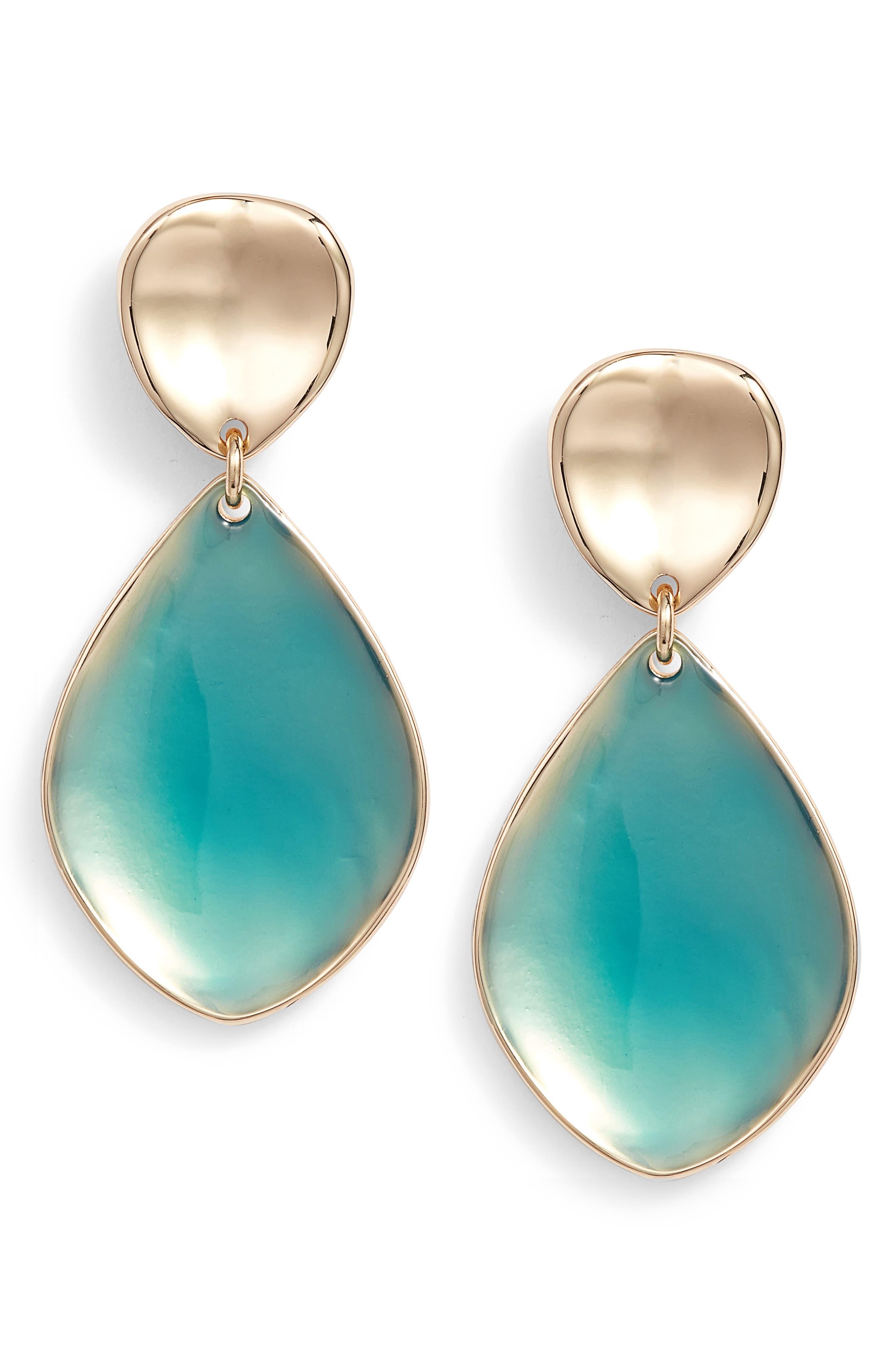 Painted Petal Double Drop Earrings,                             Main thumbnail 1, color,                             Teal- Gold