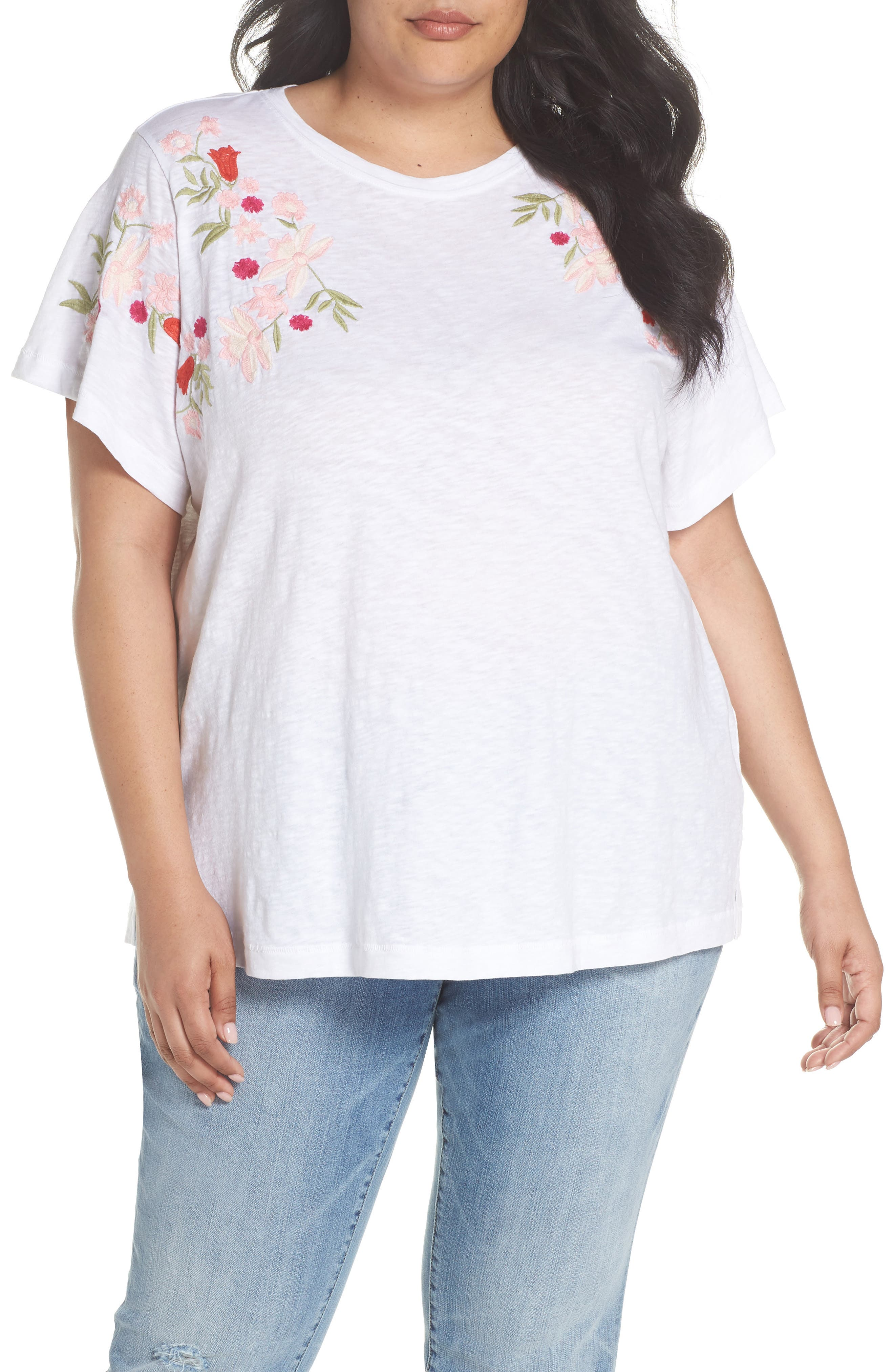 Caslon® Embroidered Tee (Plus Size)