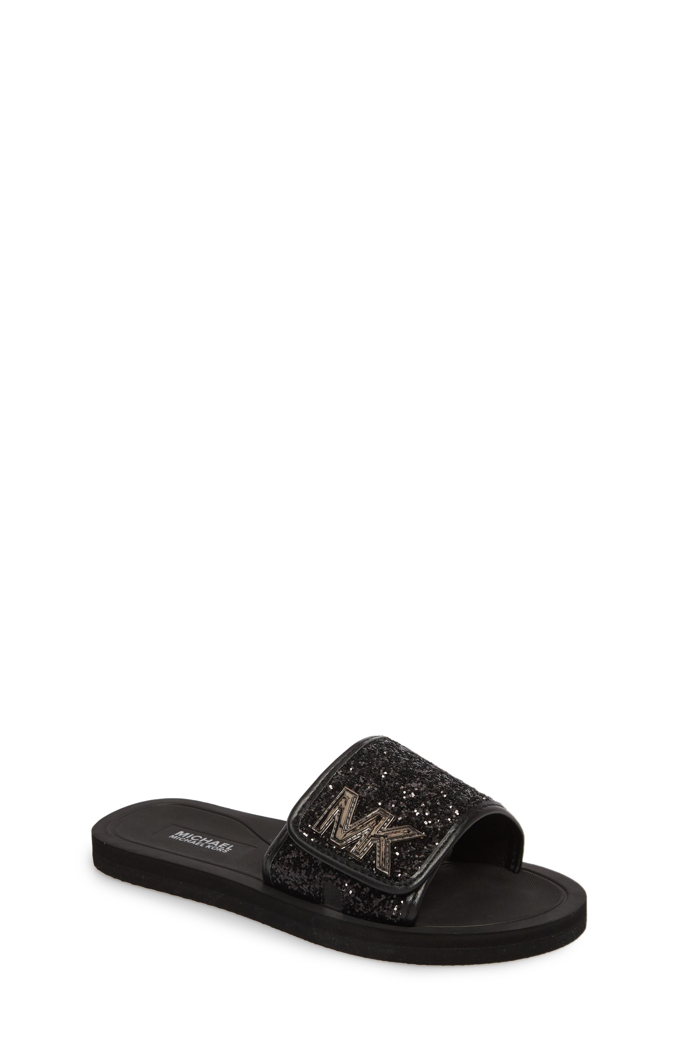 Eli Glitter Slide Sandal,                             Main thumbnail 1, color,                             Black