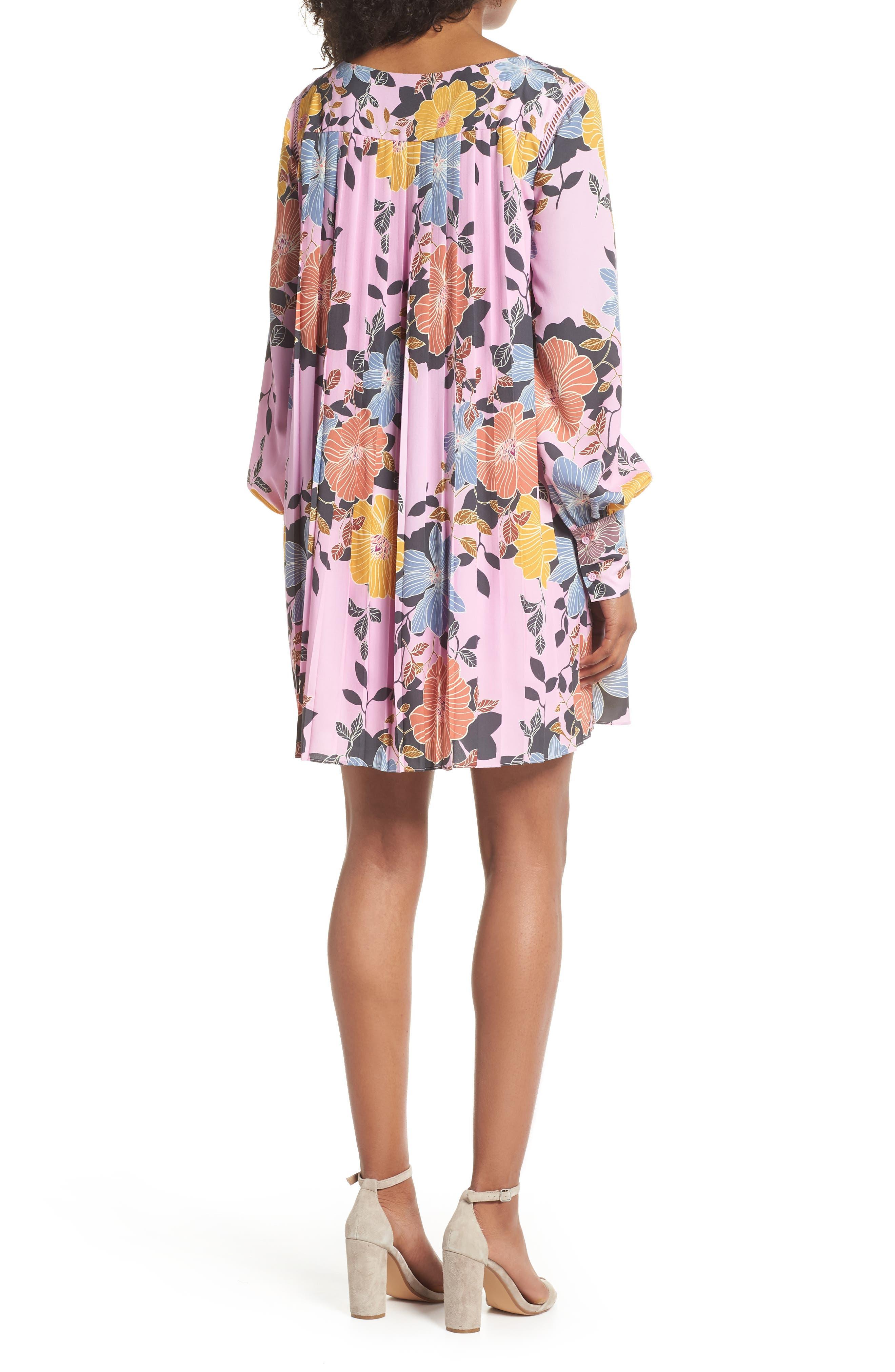 Shikoku Floral Crepe Shift Dress,                             Alternate thumbnail 2, color,                             Violet Vice Multi