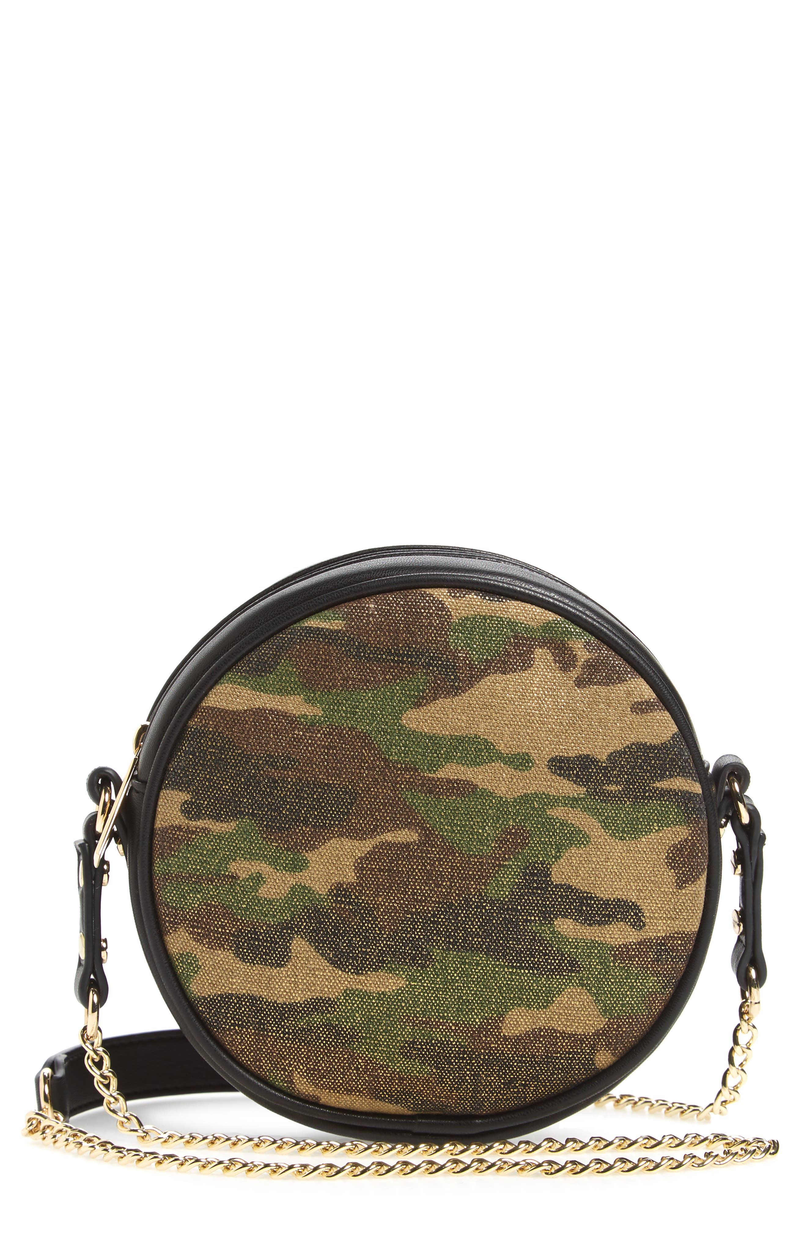 Mali + Lili Camouflage Vegan Leather Canteen Crossbody Bag,                         Main,                         color, Camouflage