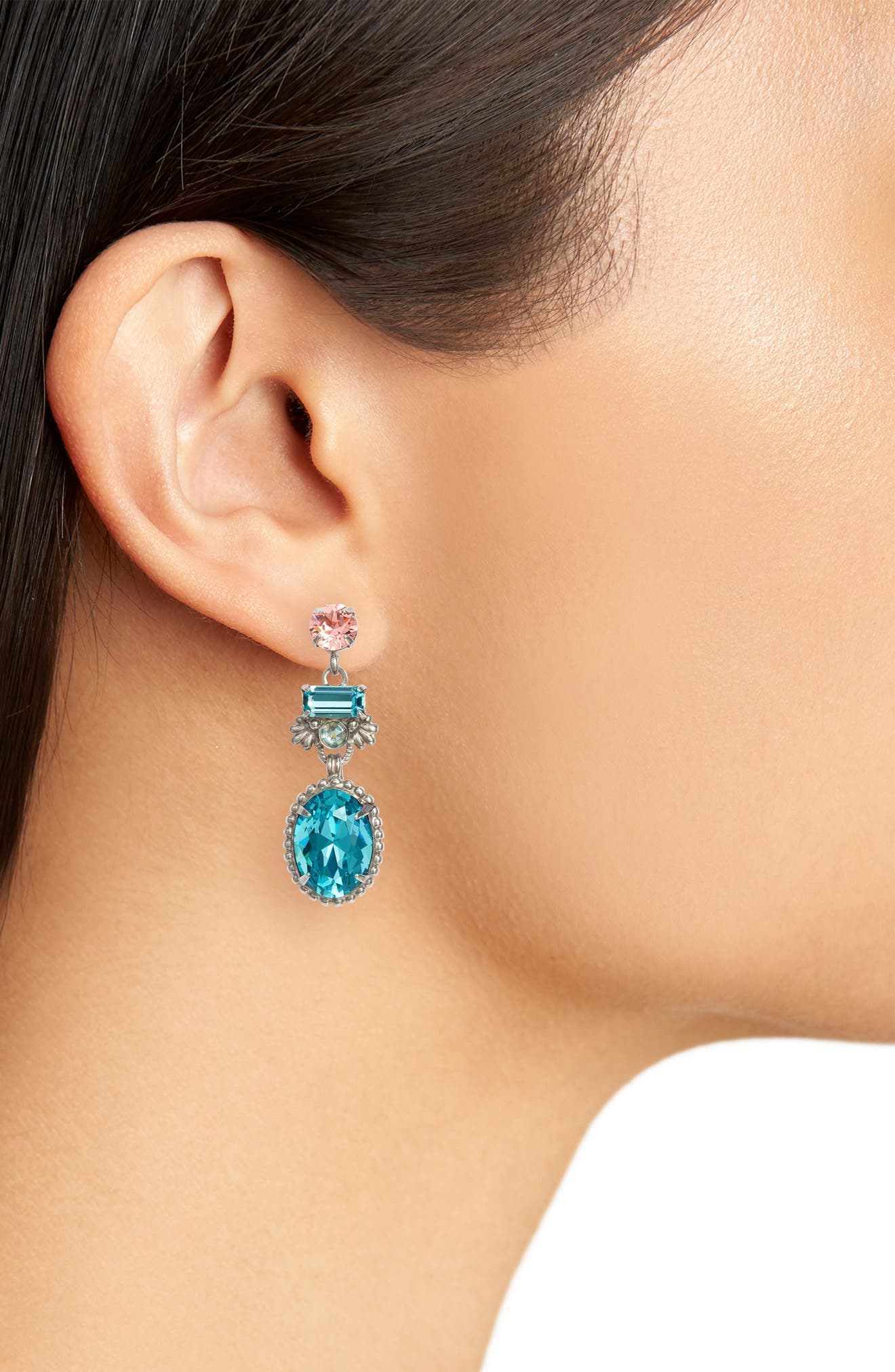 Bergenia Crystal Drop Earrings,                             Alternate thumbnail 2, color,                             Aqua/ Pink