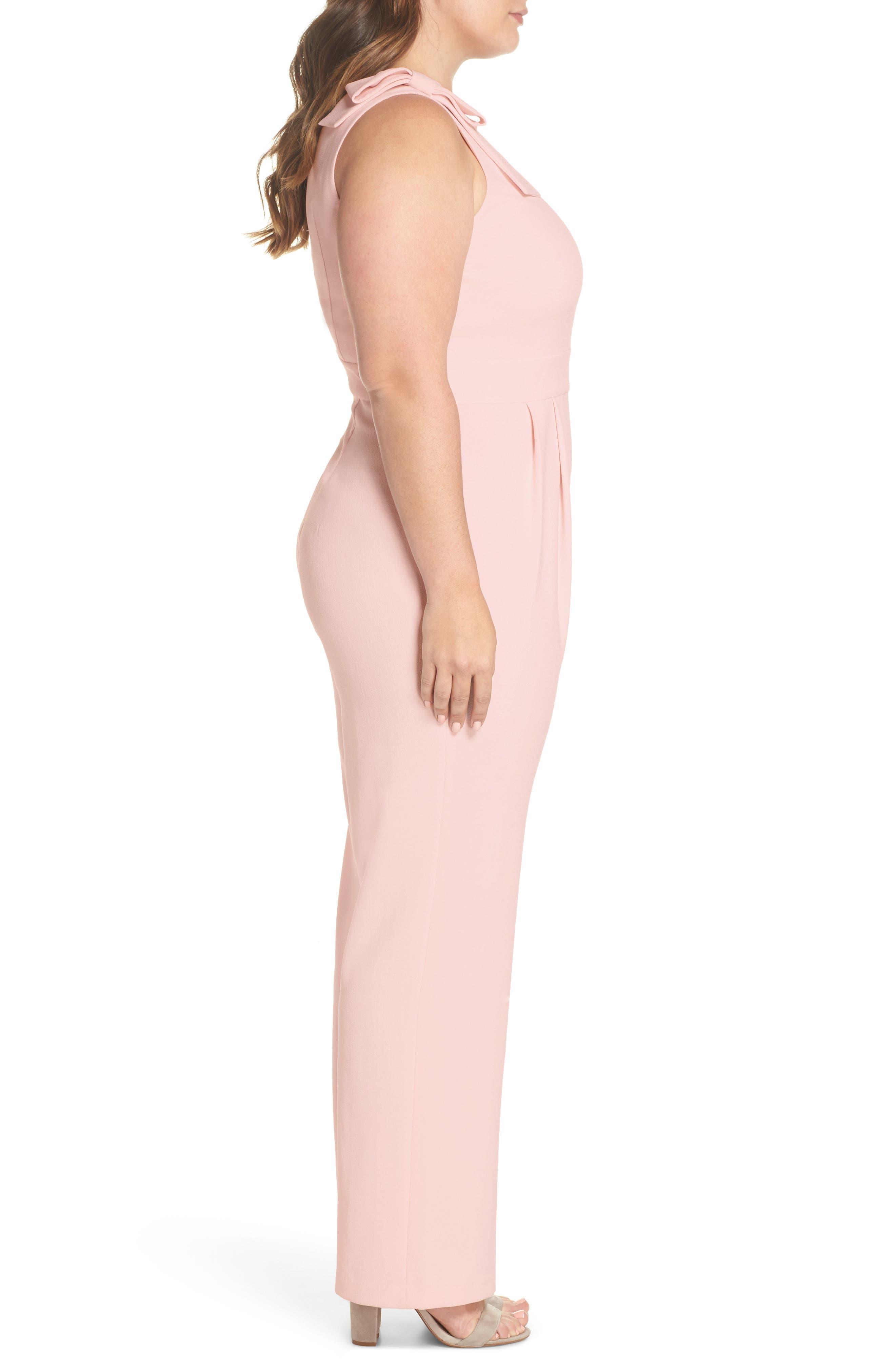 Bow Shoulder Jumpsuit,                             Alternate thumbnail 4, color,                             Pink Potpourri