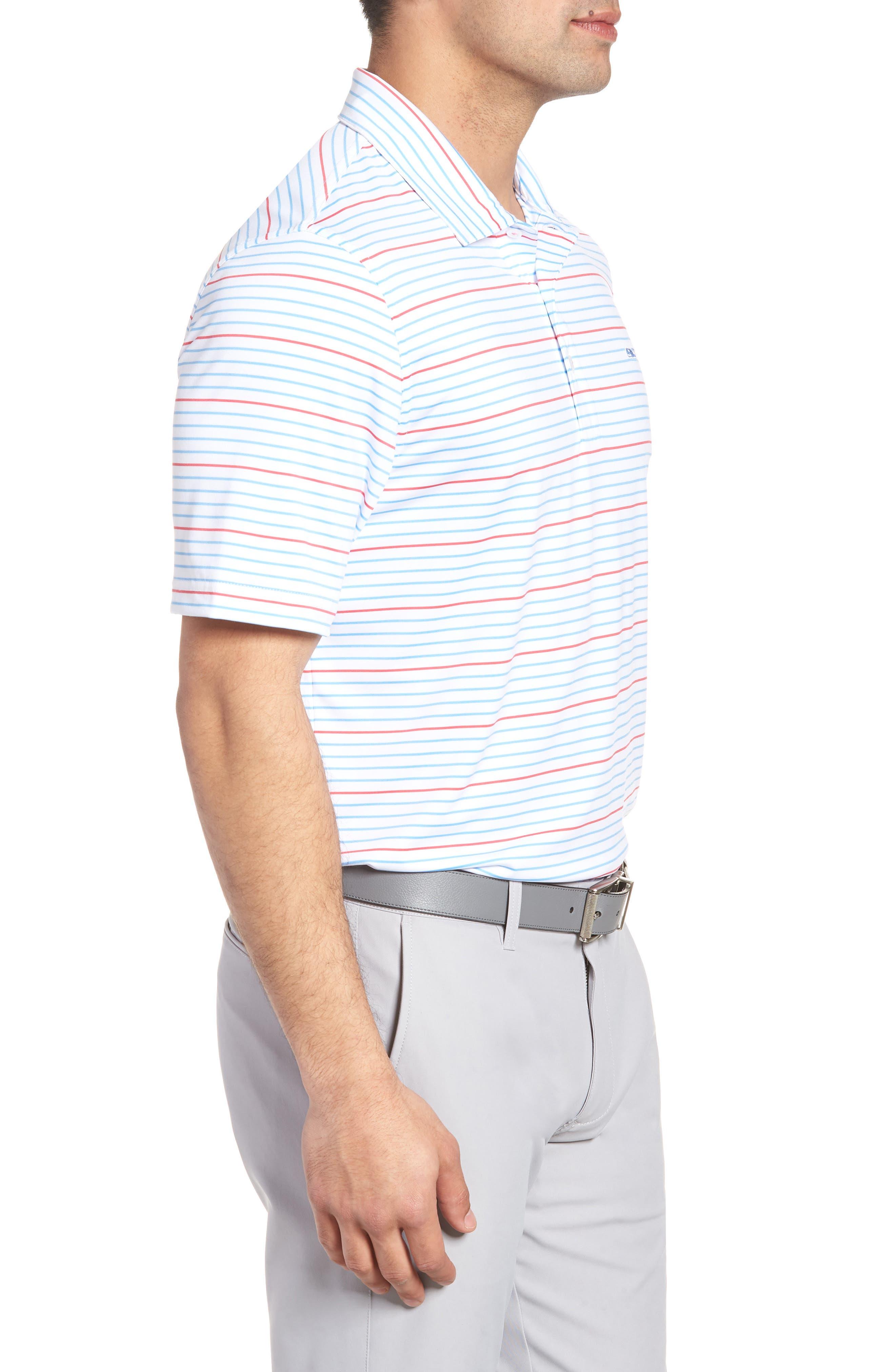 Swindell Stretch Stripe Polo,                             Alternate thumbnail 3, color,                             White Cap