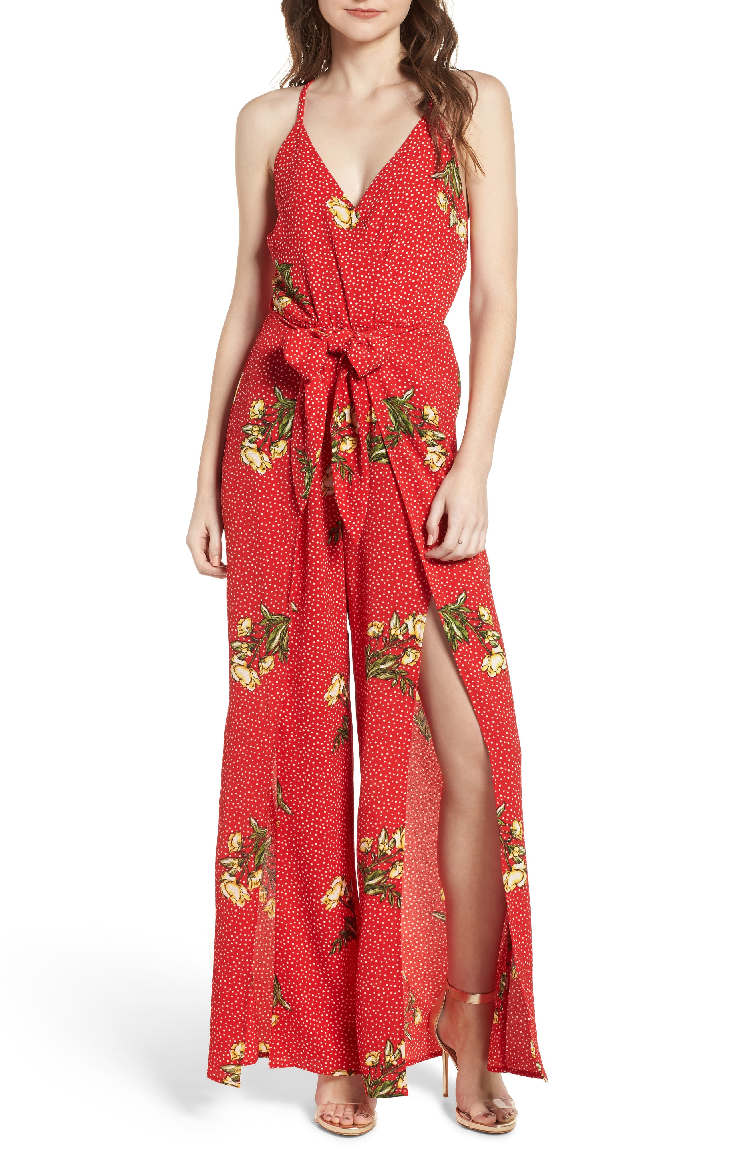 Wrap Jumpsuit,                         Main,                         color, Red/ Yellow