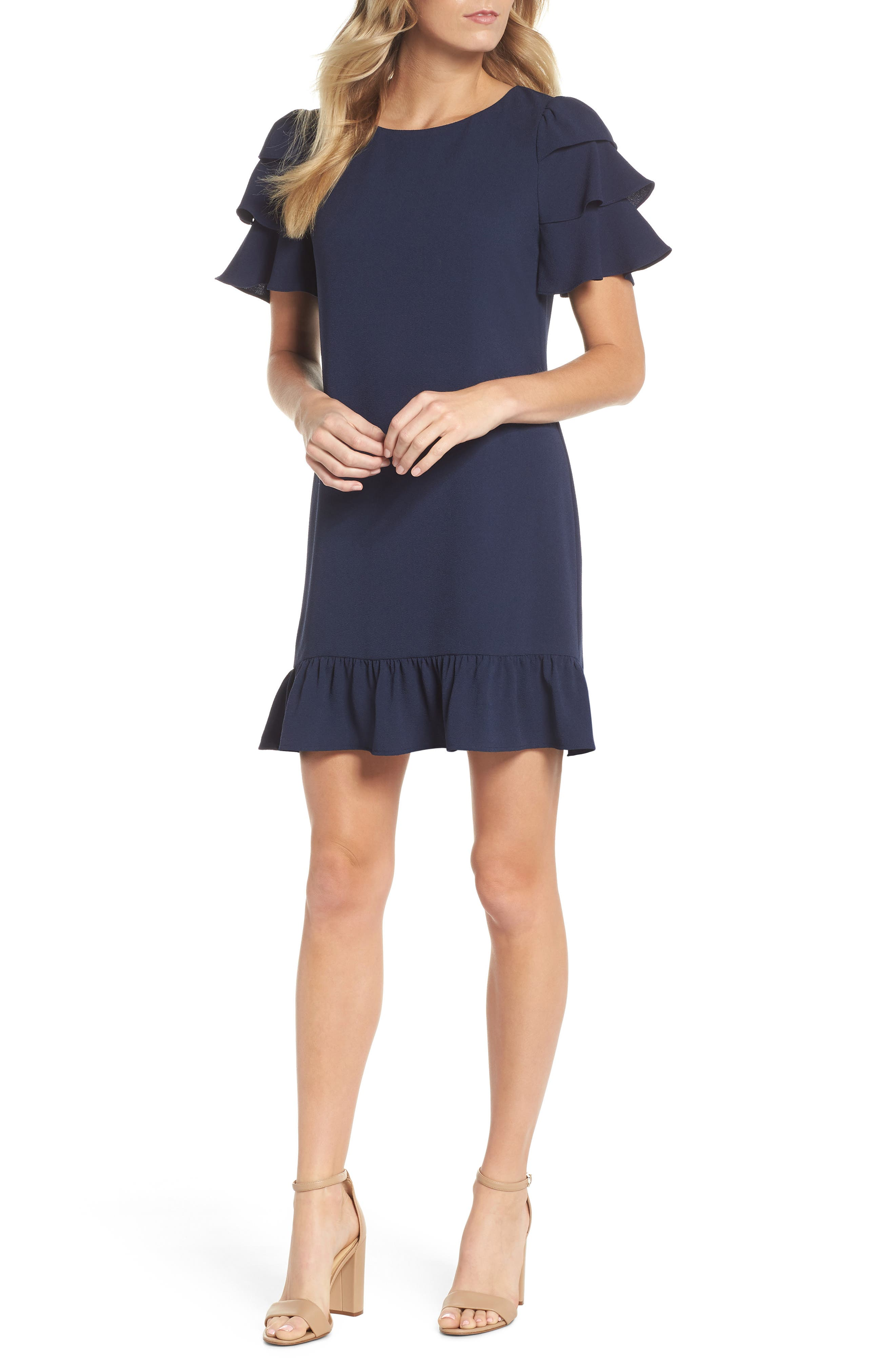 Charles Henry Tiered Ruffle Shift Dress (Regular & Petite)