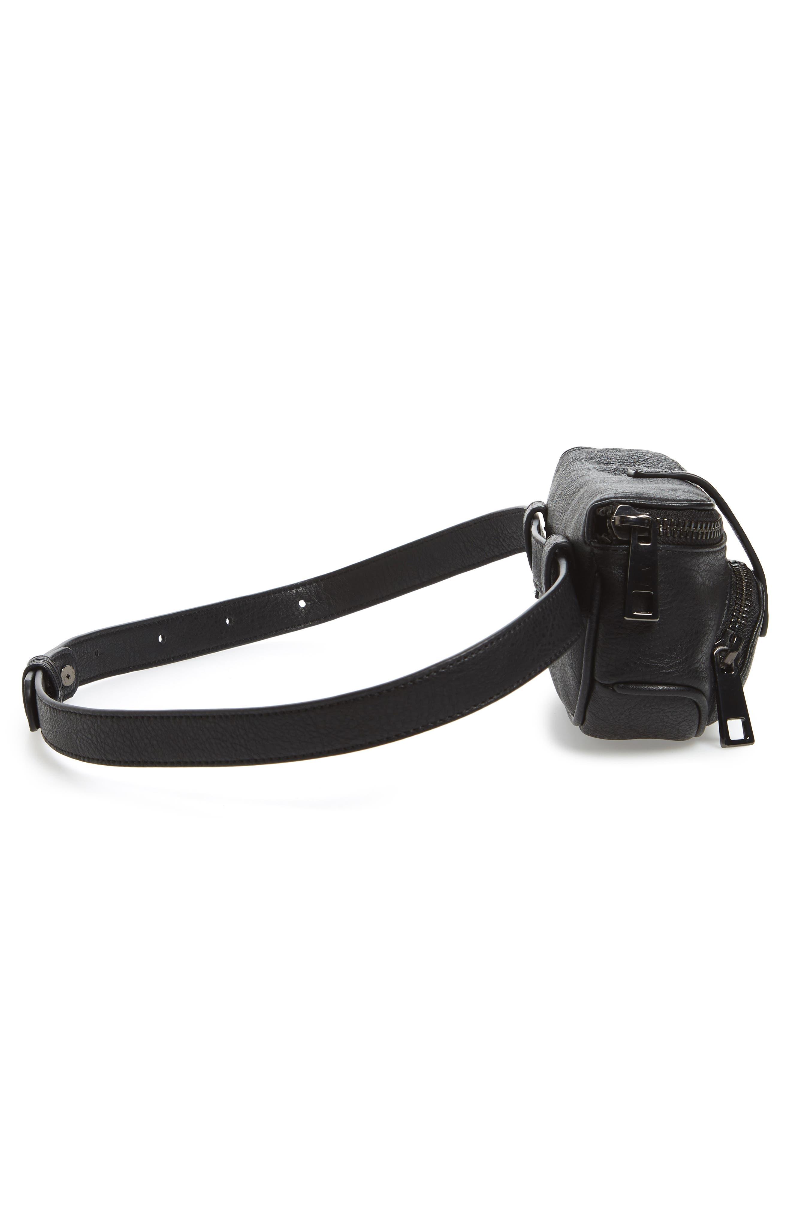Faux Leather Belt Bag,                             Alternate thumbnail 6, color,                             Black
