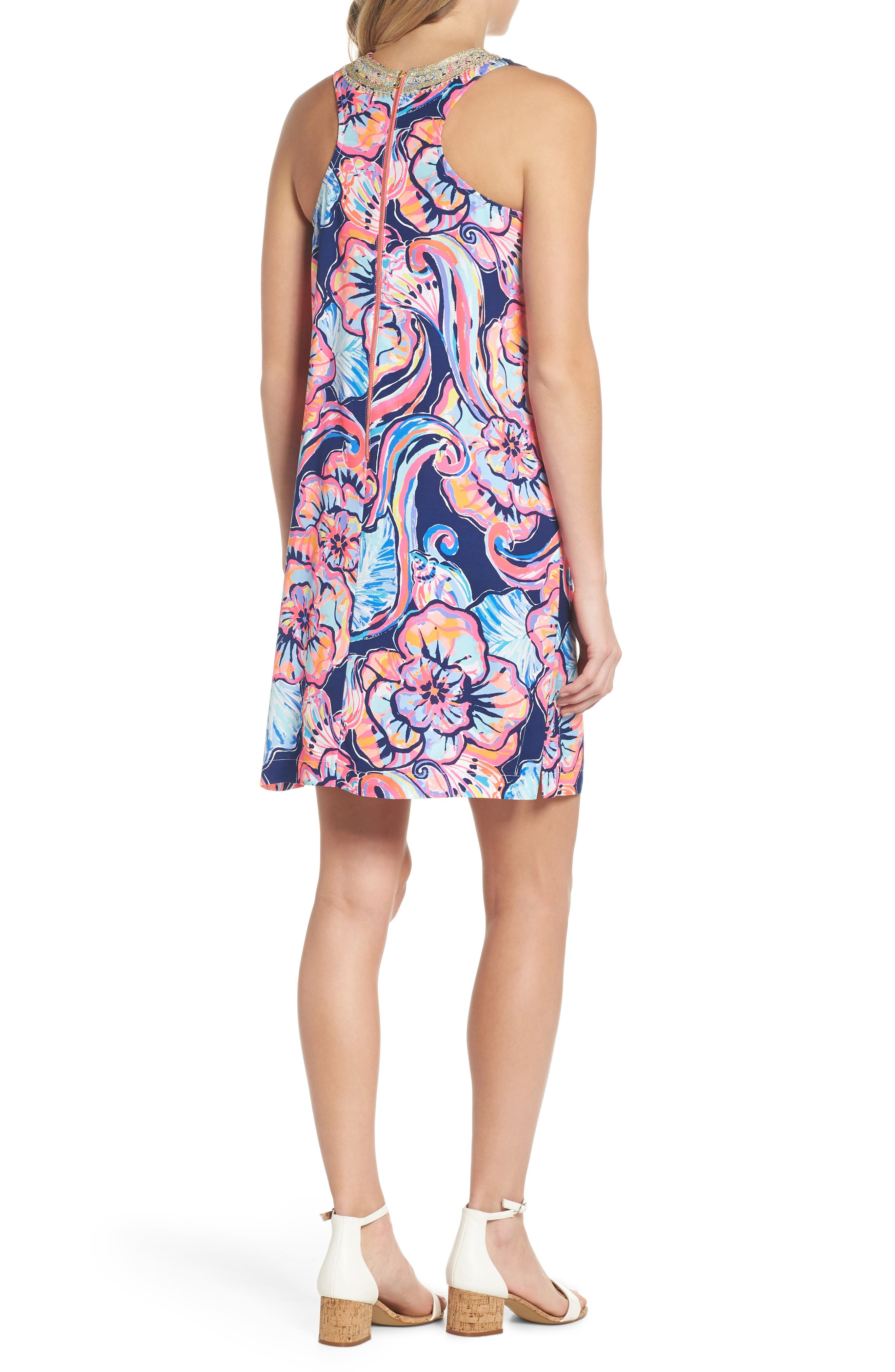Carlotta Sleeveless Stretch Shift Dress,                             Alternate thumbnail 2, color,                             Nautical Navy