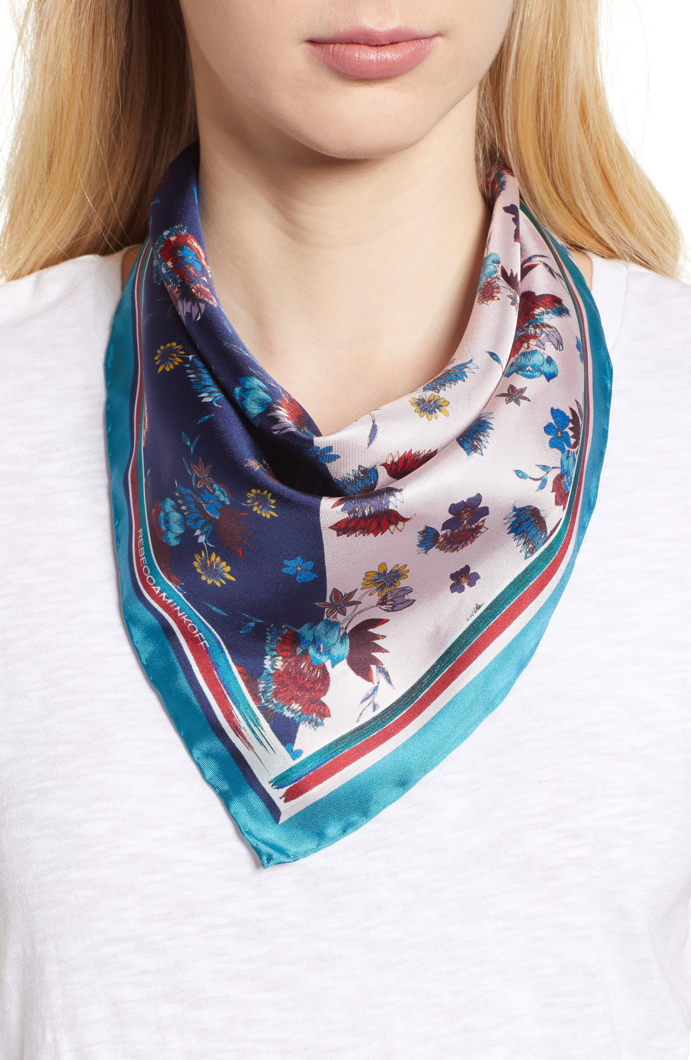 Pressed Floral Silk Bandana,                             Main thumbnail 1, color,                             Pink