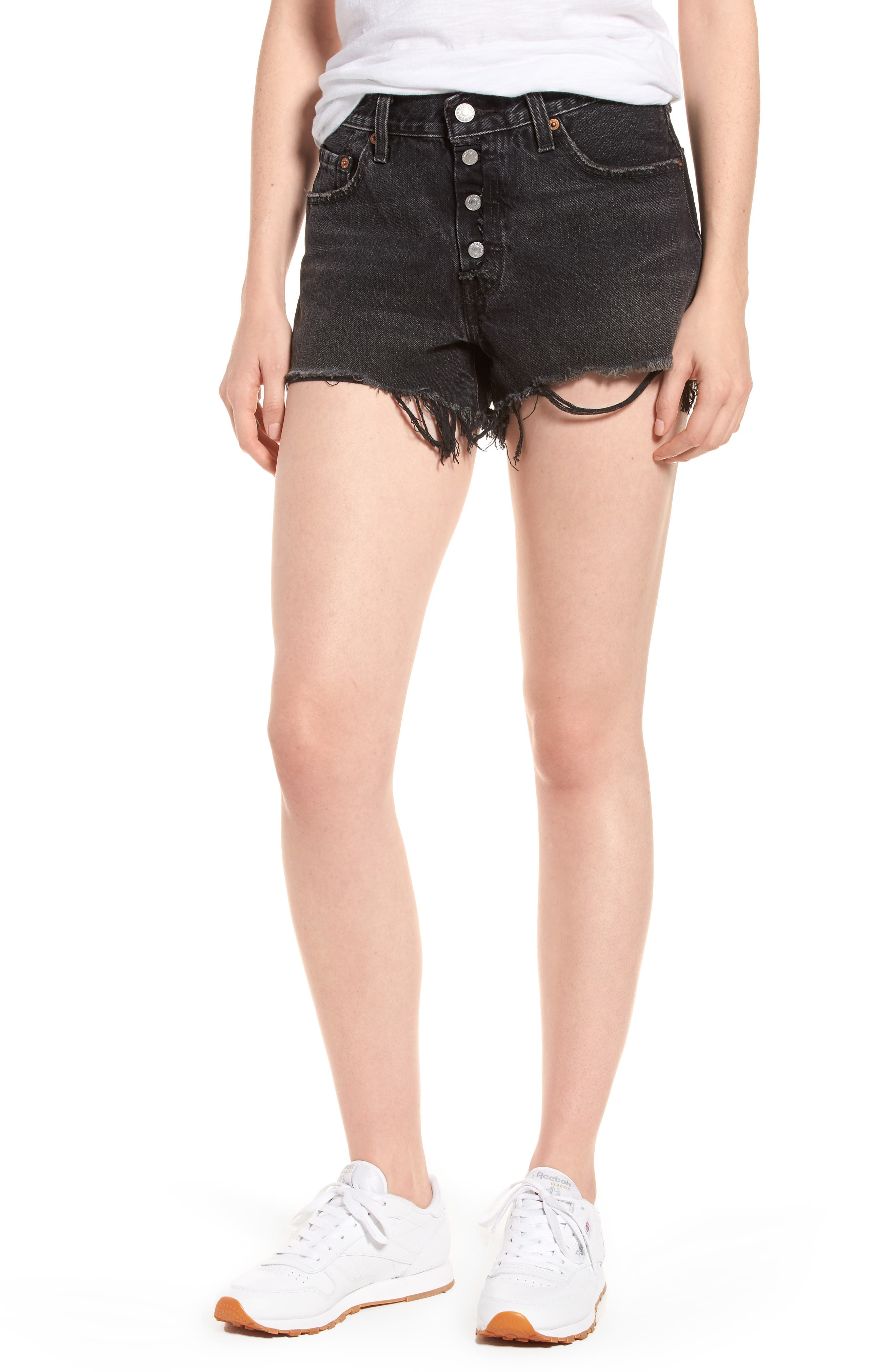 501<sup>®</sup> Cutoff Denim Shorts,                         Main,                         color, Black Eye