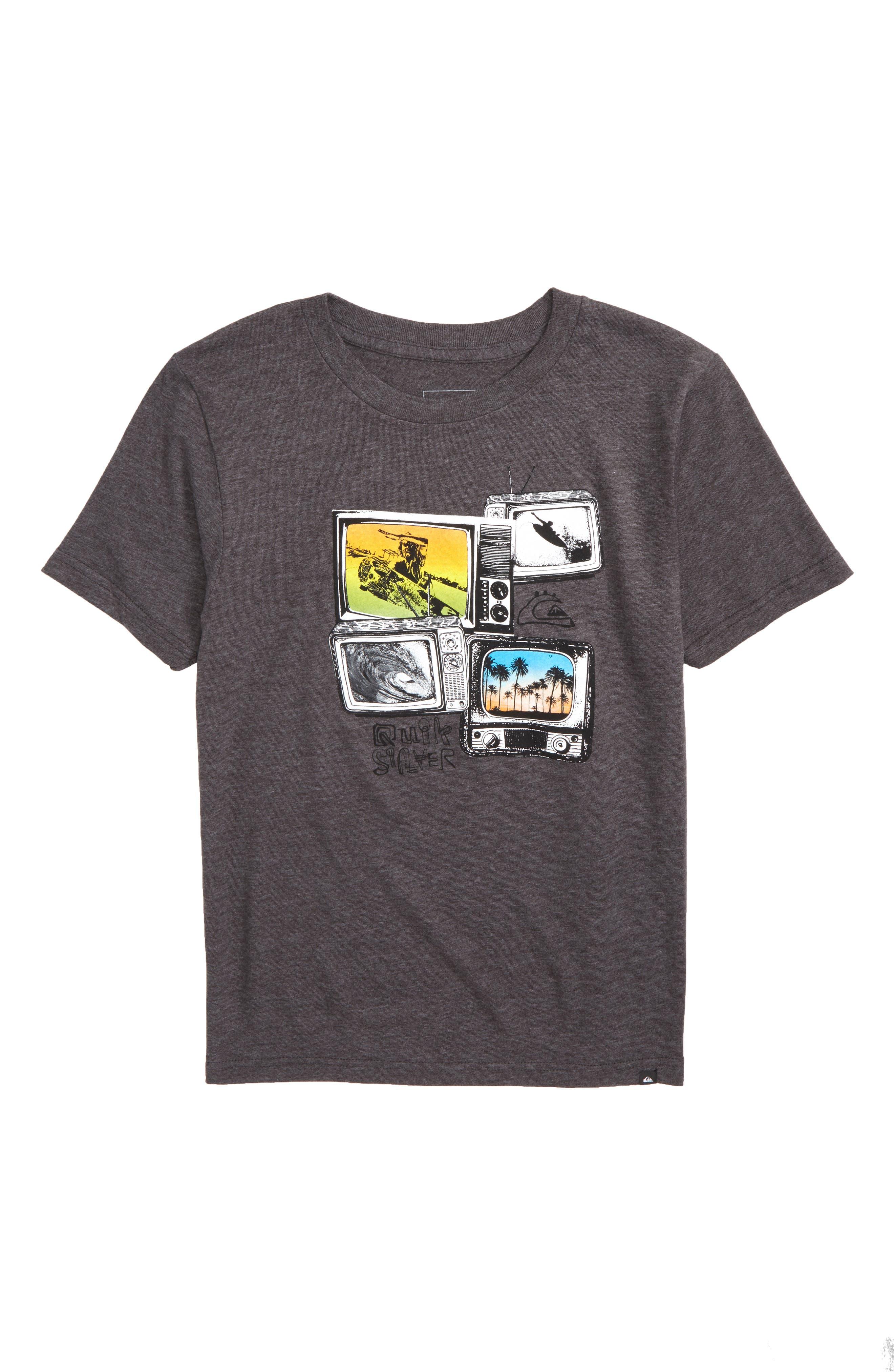 Super TV Graphic T-Shirt,                             Main thumbnail 1, color,                             Charcoal Heather