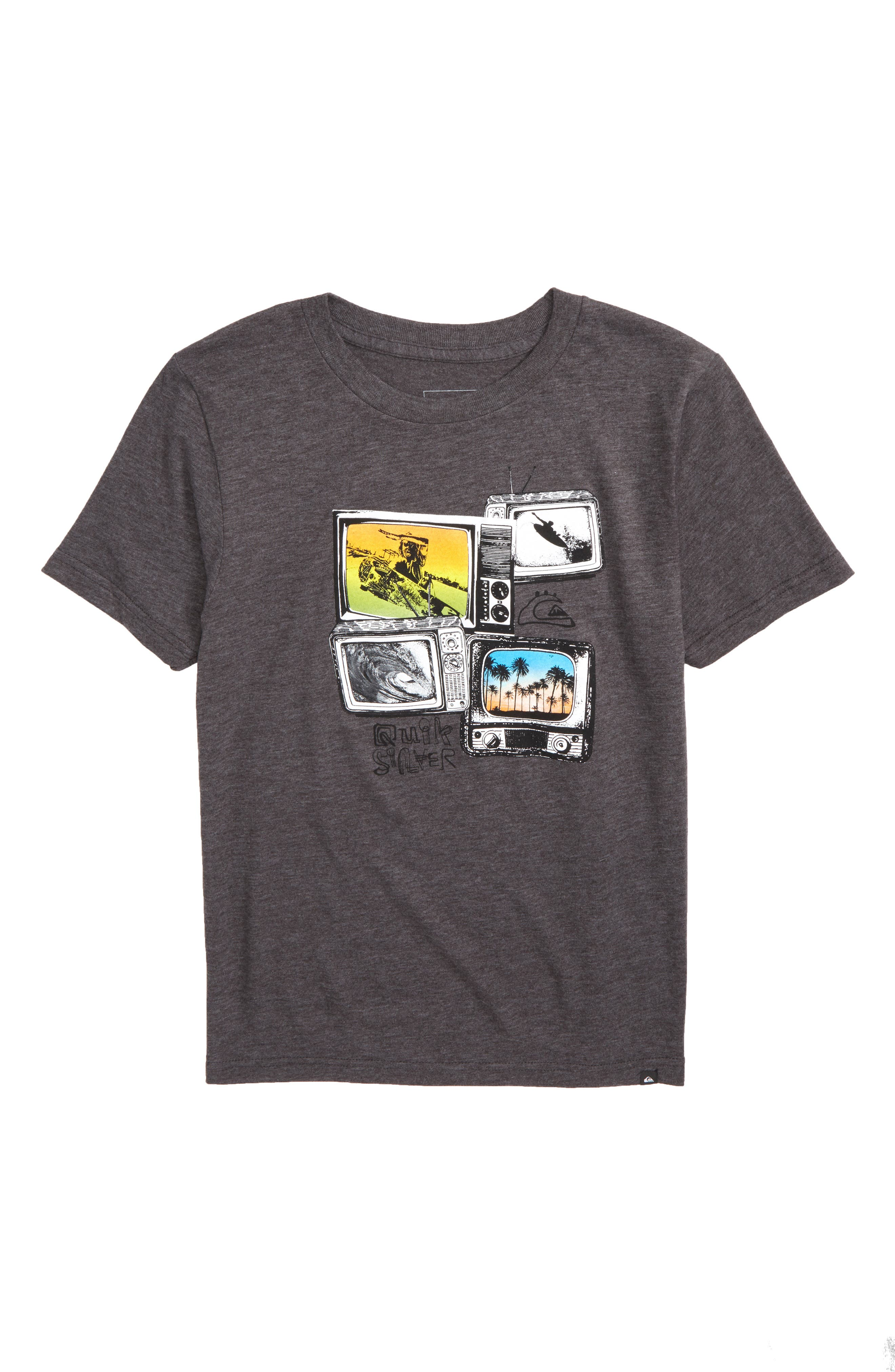 Super TV Graphic T-Shirt,                         Main,                         color, Charcoal Heather