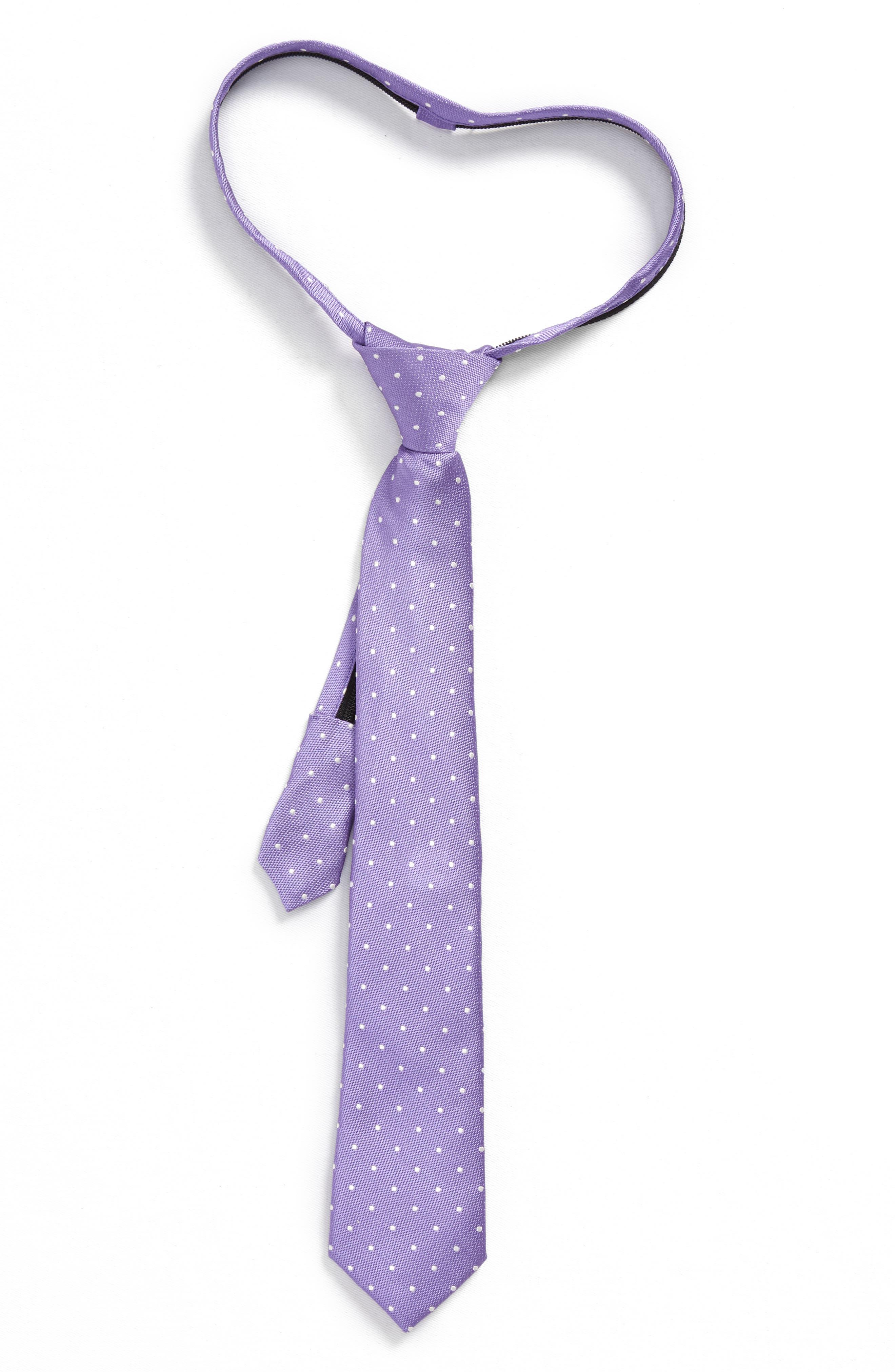 Dainty Dot Silk Zip Tie,                         Main,                         color, Purple