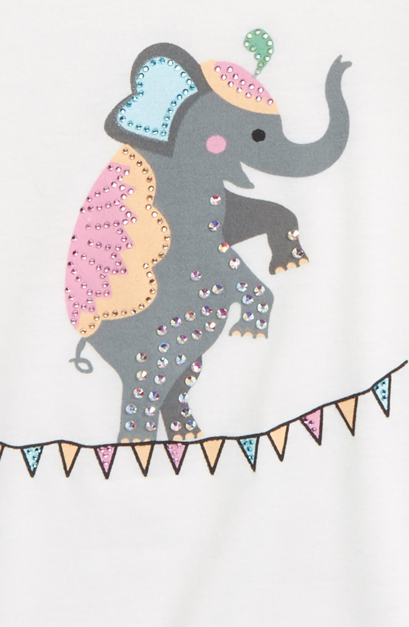Embellished Elephant Graphic Tee,                             Alternate thumbnail 2, color,                             White