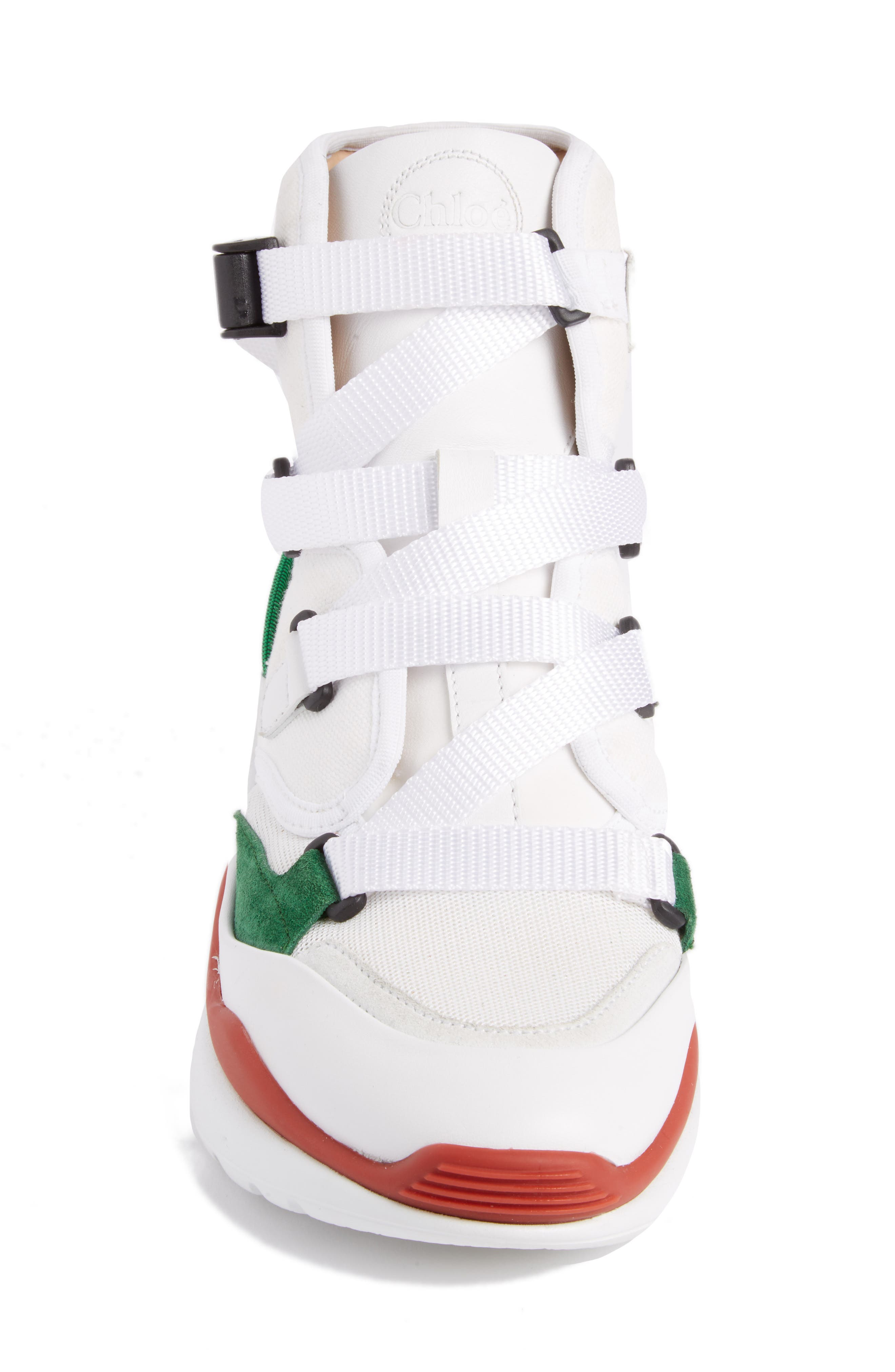 Sonnie High Top Sneaker,                             Alternate thumbnail 3, color,                             White/ Green/ Red