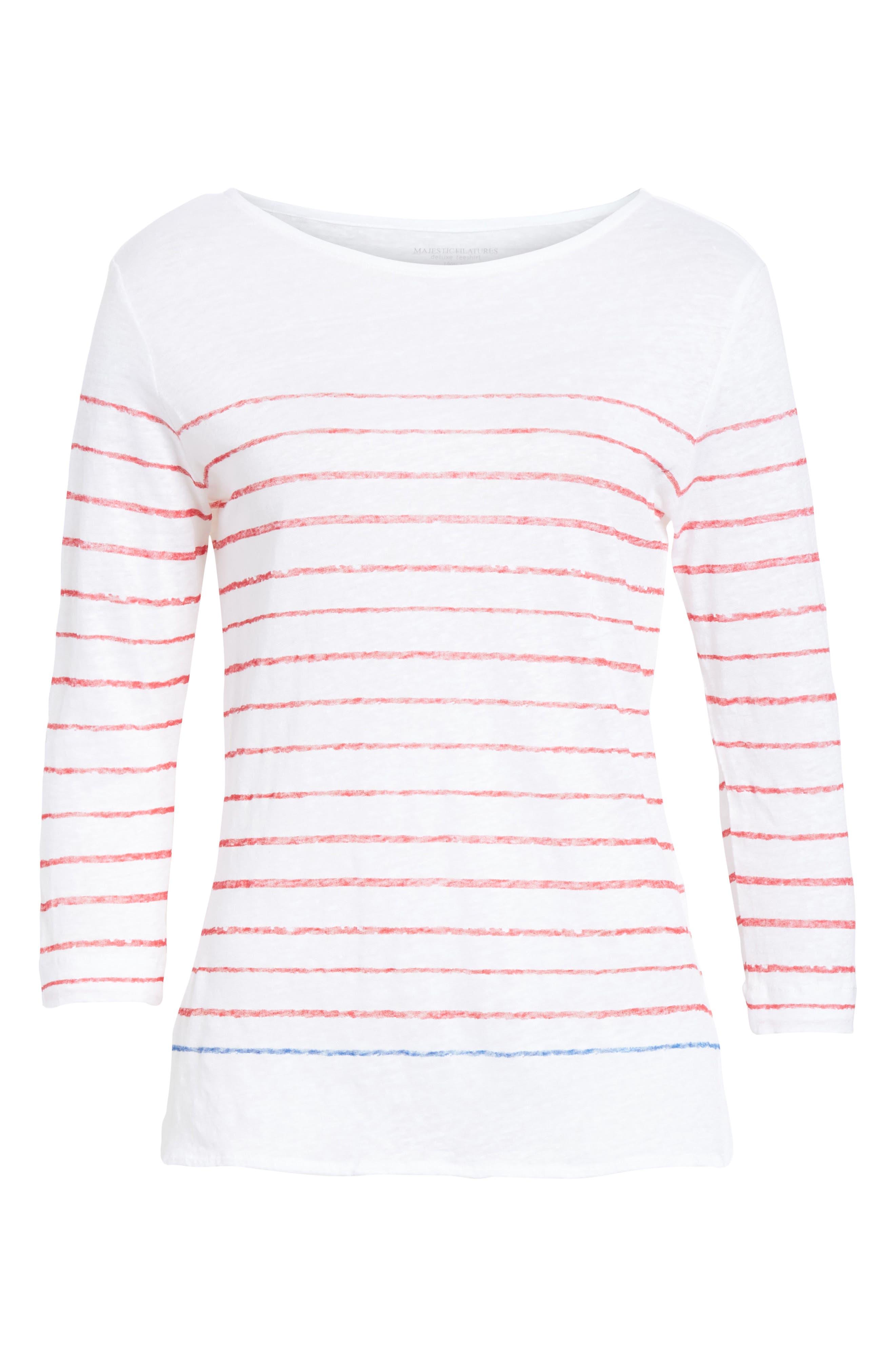 Stripe Three Quarter Sleeve Tee,                             Alternate thumbnail 6, color,                             Rouge/ Indigo Blue