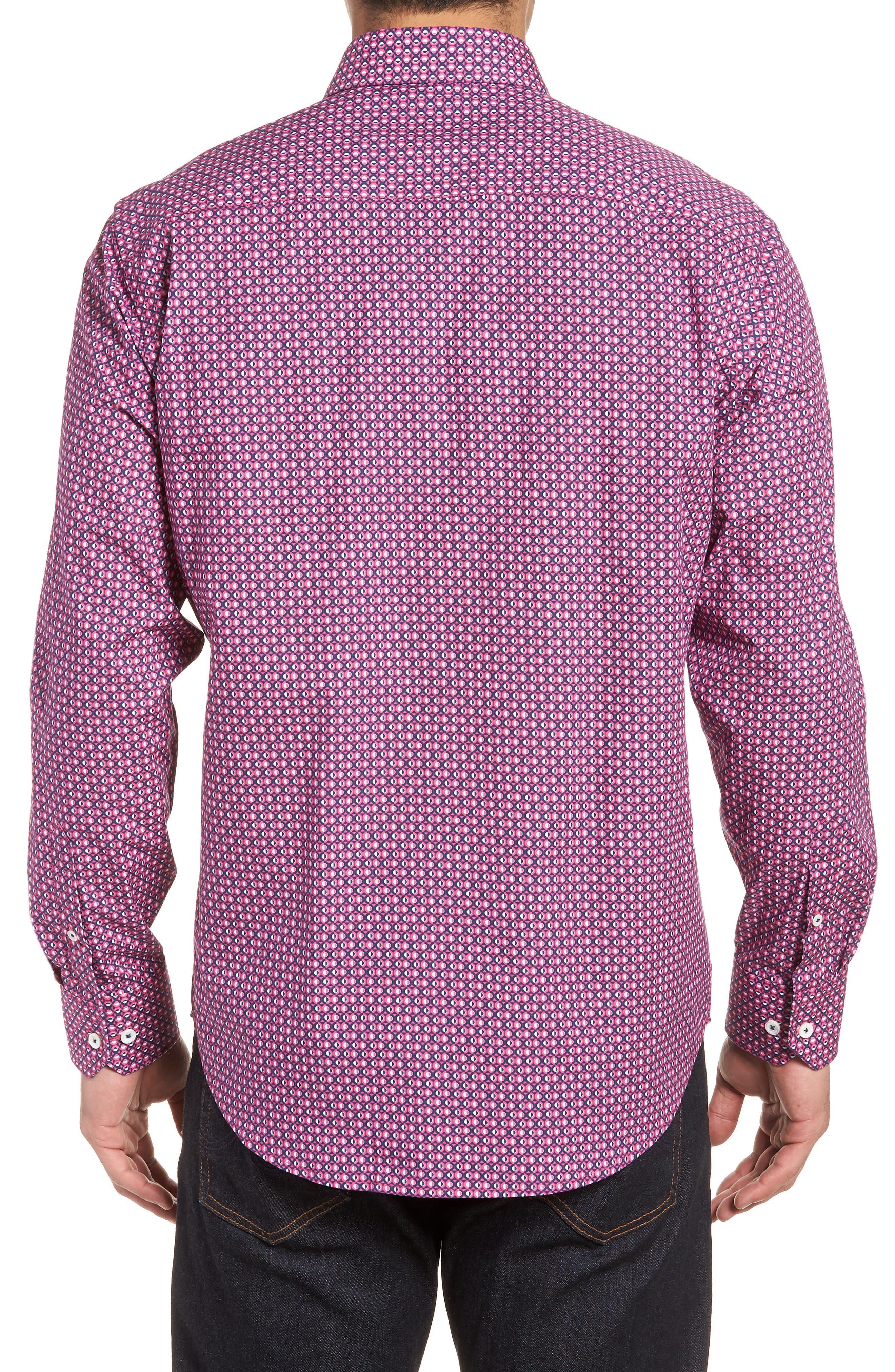 Classic Fit Woven Sport Shirt,                             Alternate thumbnail 2, color,                             Magenta