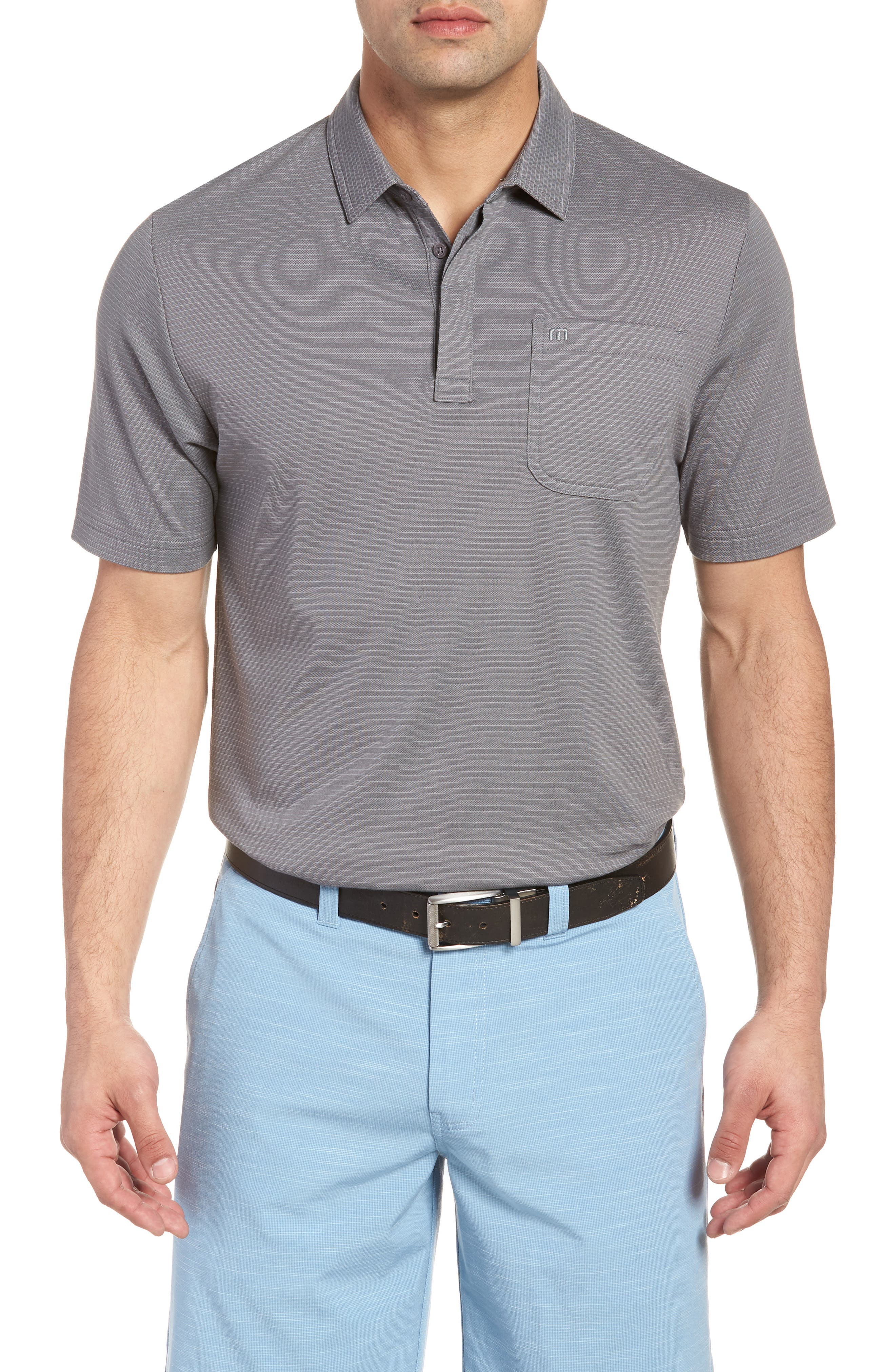 Watty Stripe Cotton Blend Polo,                             Main thumbnail 1, color,                             Quiet Shade