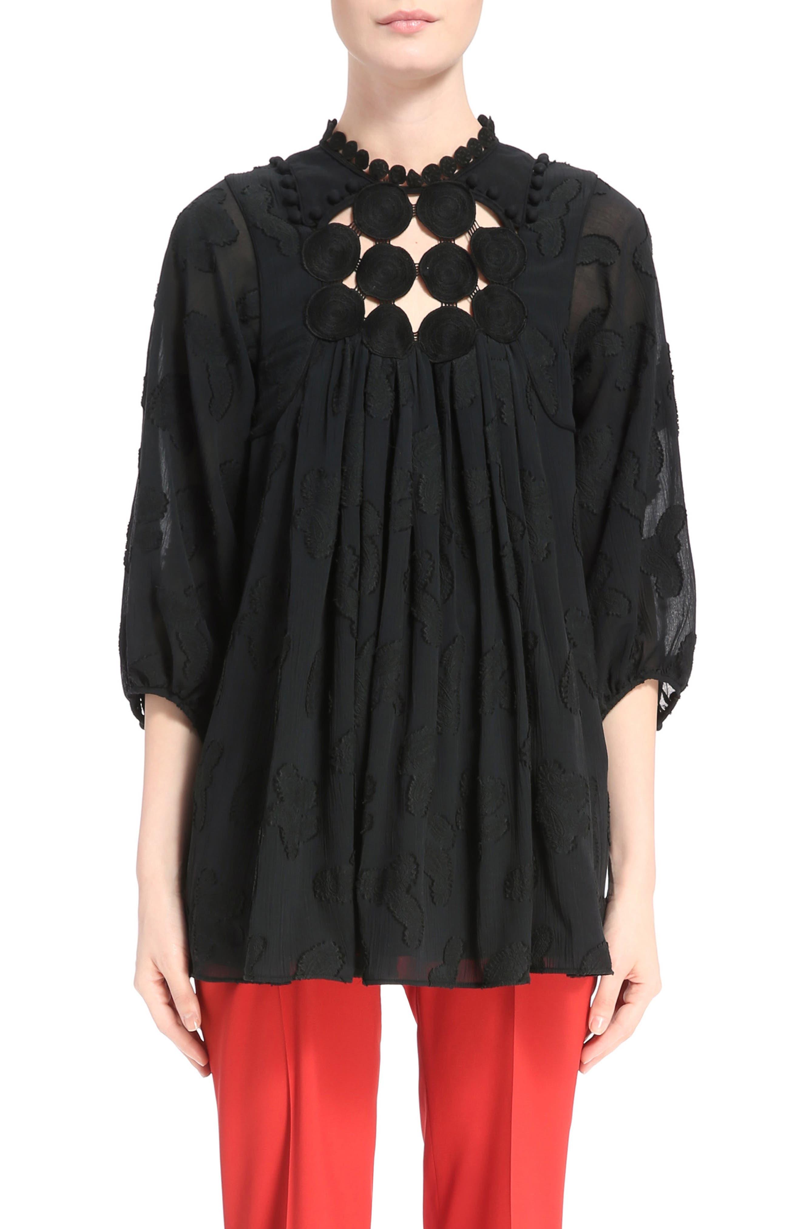 Paisley Jacquard Crépon Blouse,                         Main,                         color, Black