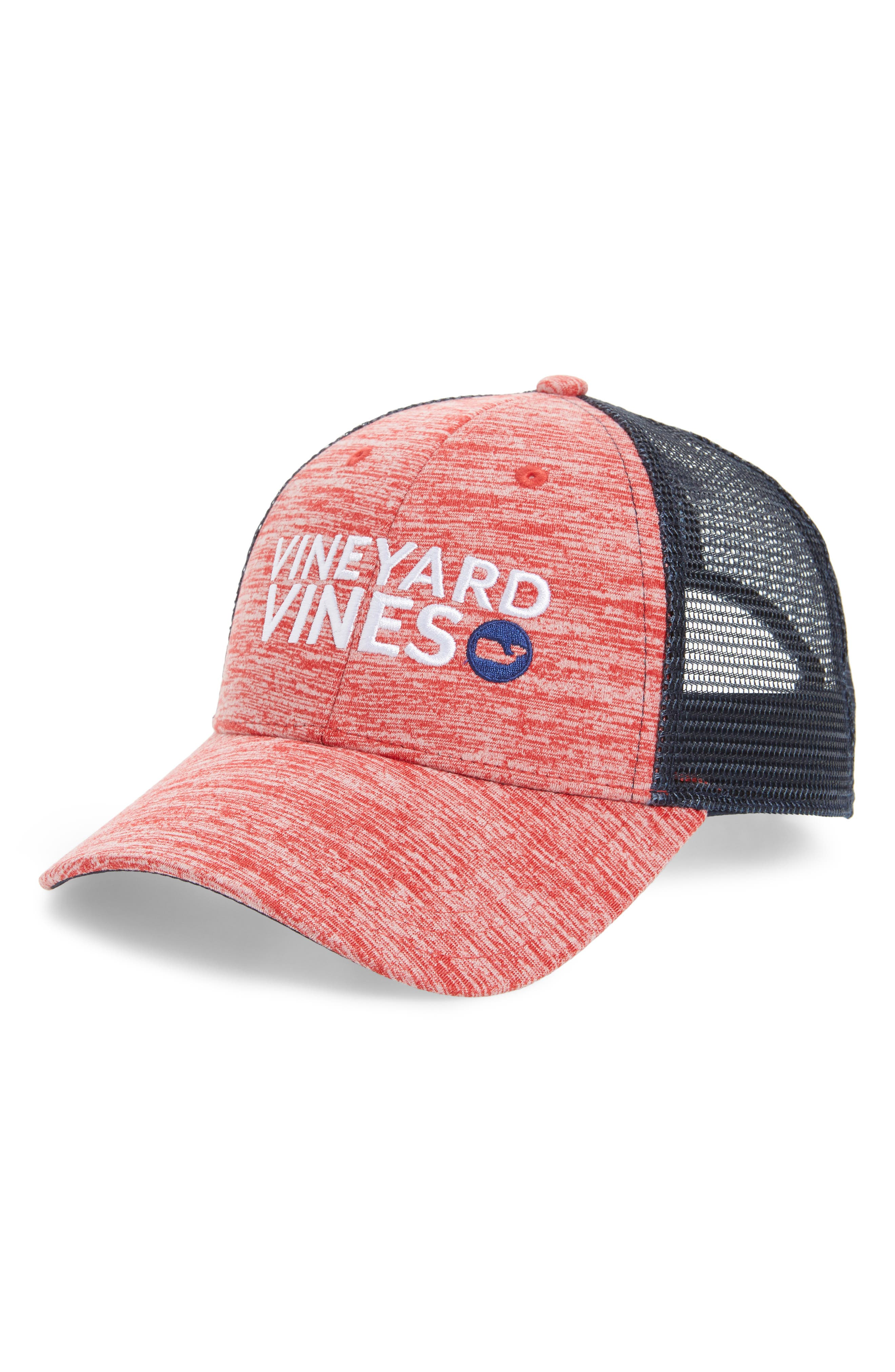 Performance Space Dyed Trucker Hat,                         Main,                         color, Jetty Red