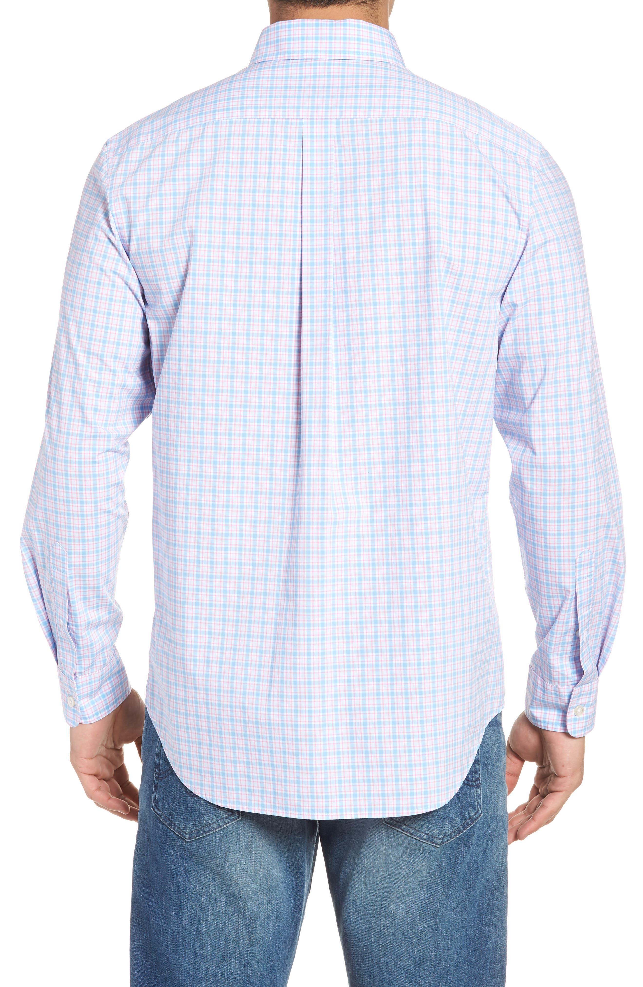 Captain Lyford Classic Fit Stretch Check Sport Shirt,                             Alternate thumbnail 3, color,                             Ocean Breeze