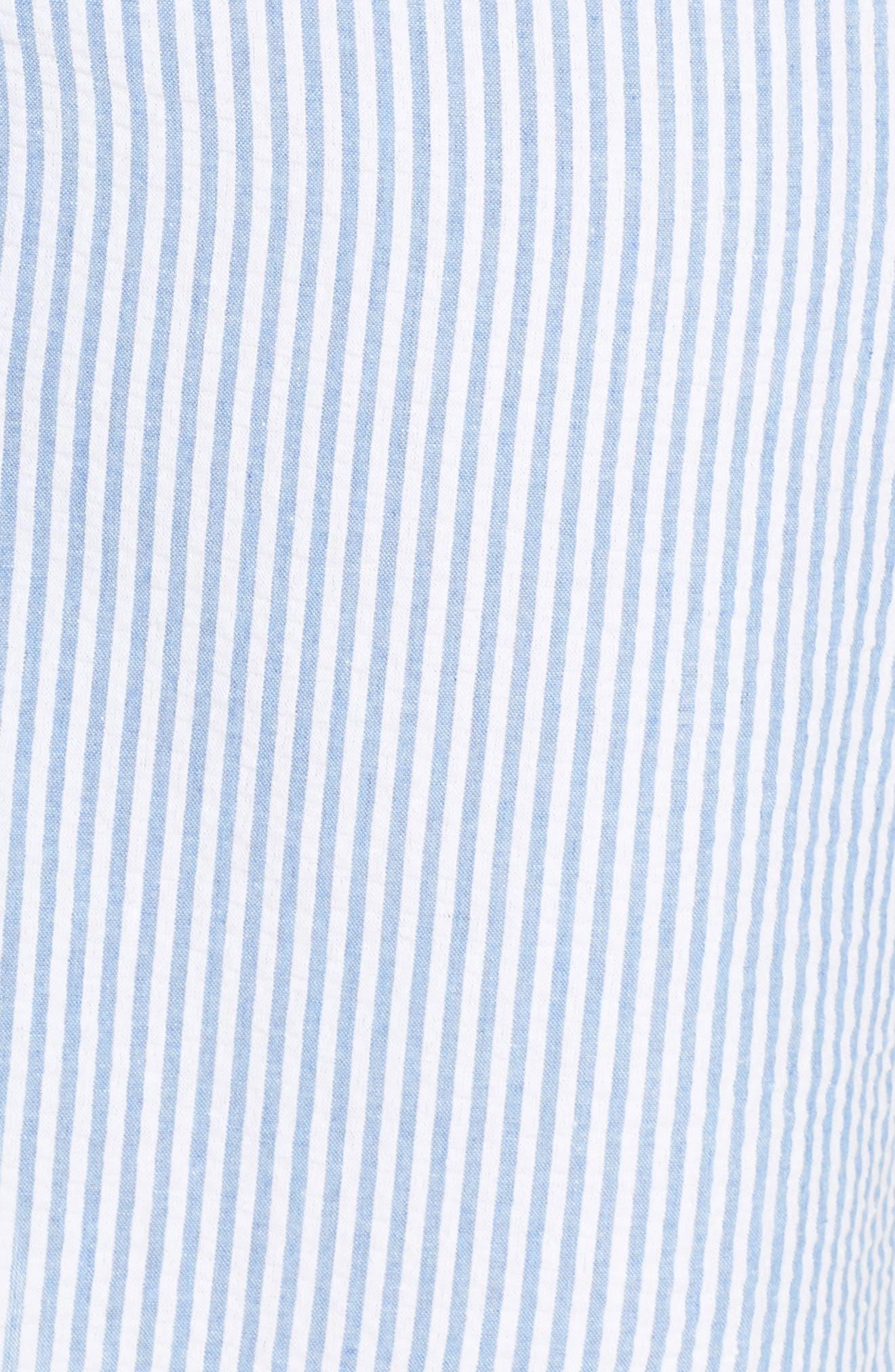Side Tie Stripe Shirtdress,                             Alternate thumbnail 5, color,                             Stripe Print