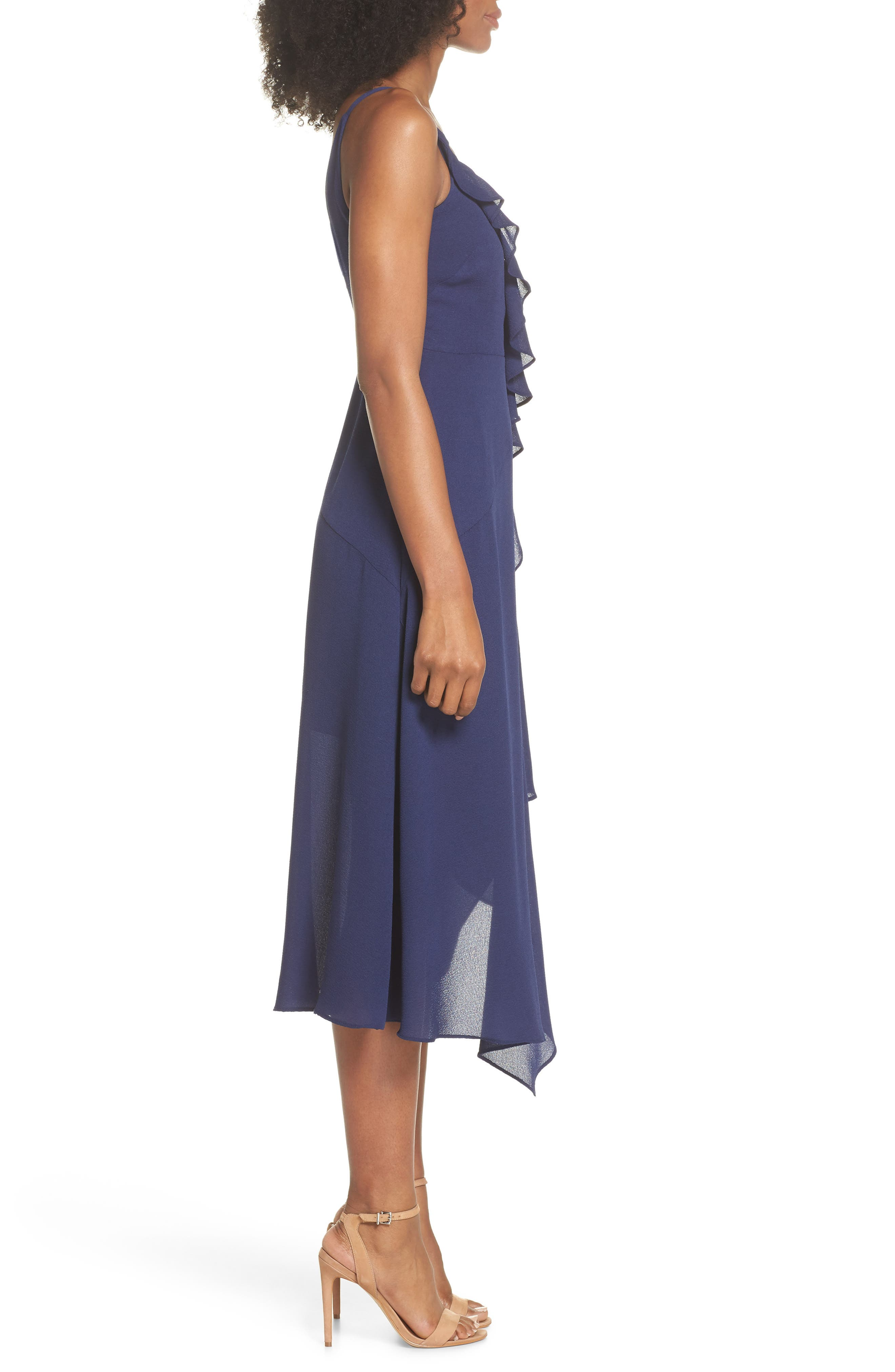 Georgette Faux Wrap Dress,                             Alternate thumbnail 3, color,                             Navy
