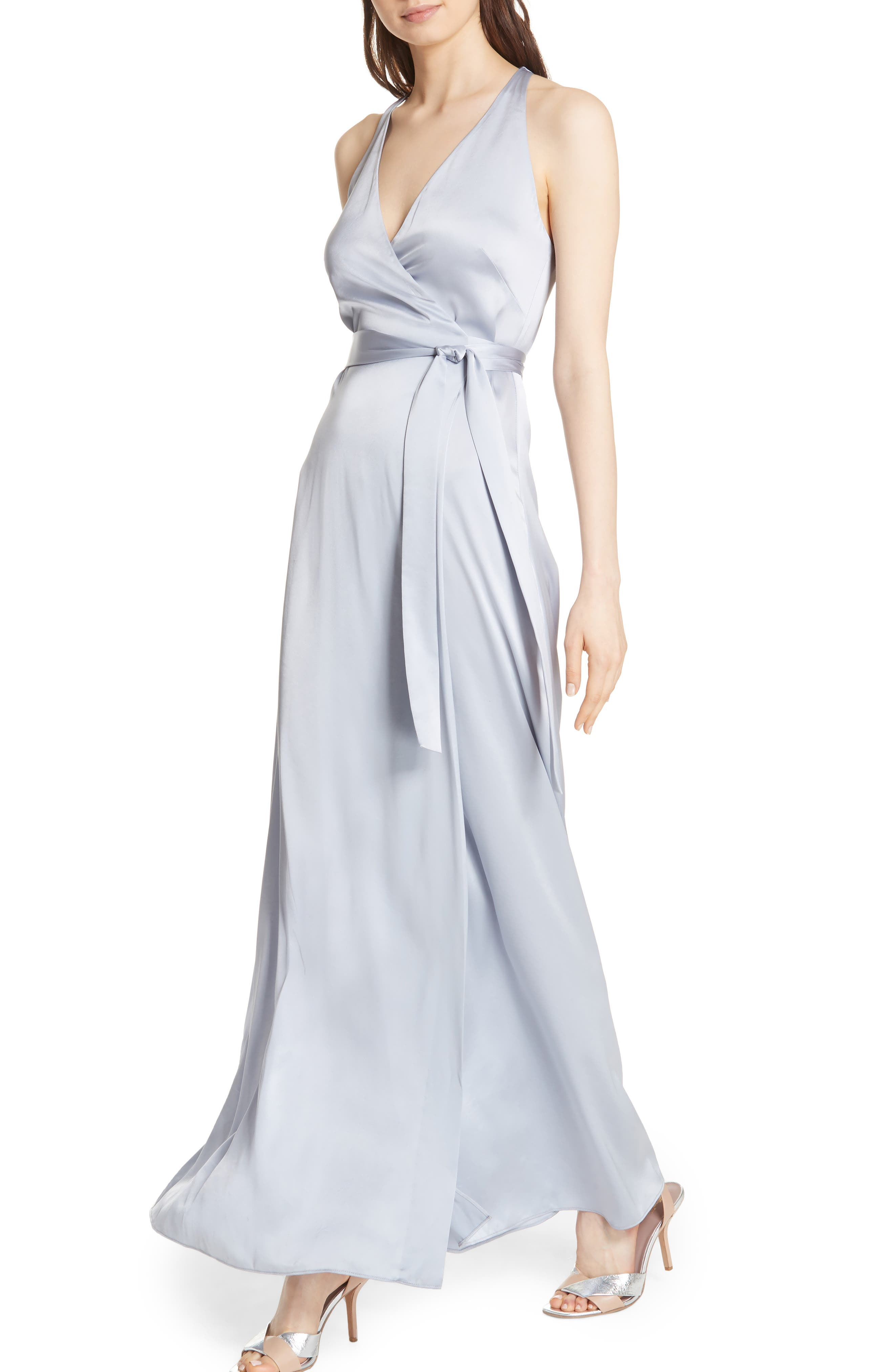 Diane von Furstenberg Wrap Gown,                             Alternate thumbnail 4, color,                             Smoke
