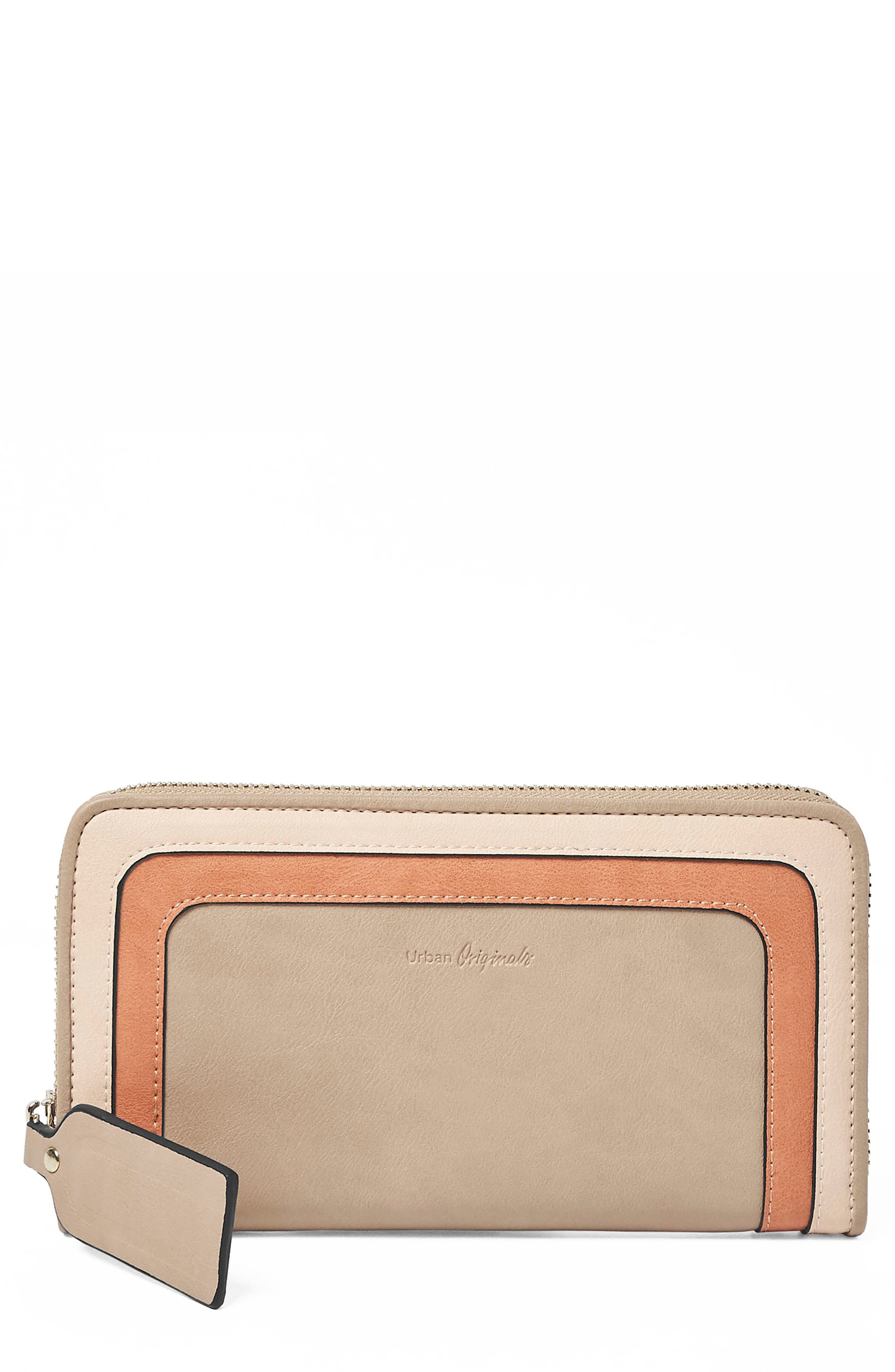 Drama Queen Faux Leather Zip Wallet,                             Main thumbnail 1, color,                             Taupe