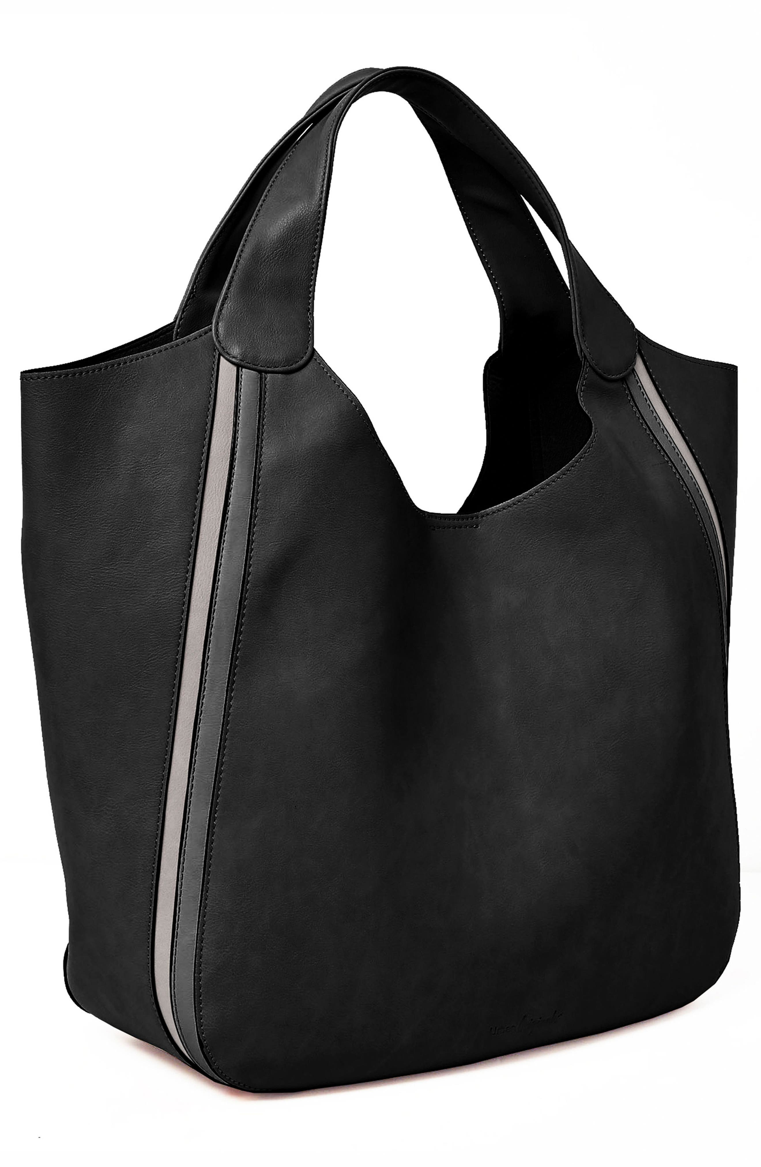 Viva Vegan Leather Tote with Removable Zip Pouch,                             Alternate thumbnail 3, color,                             Black