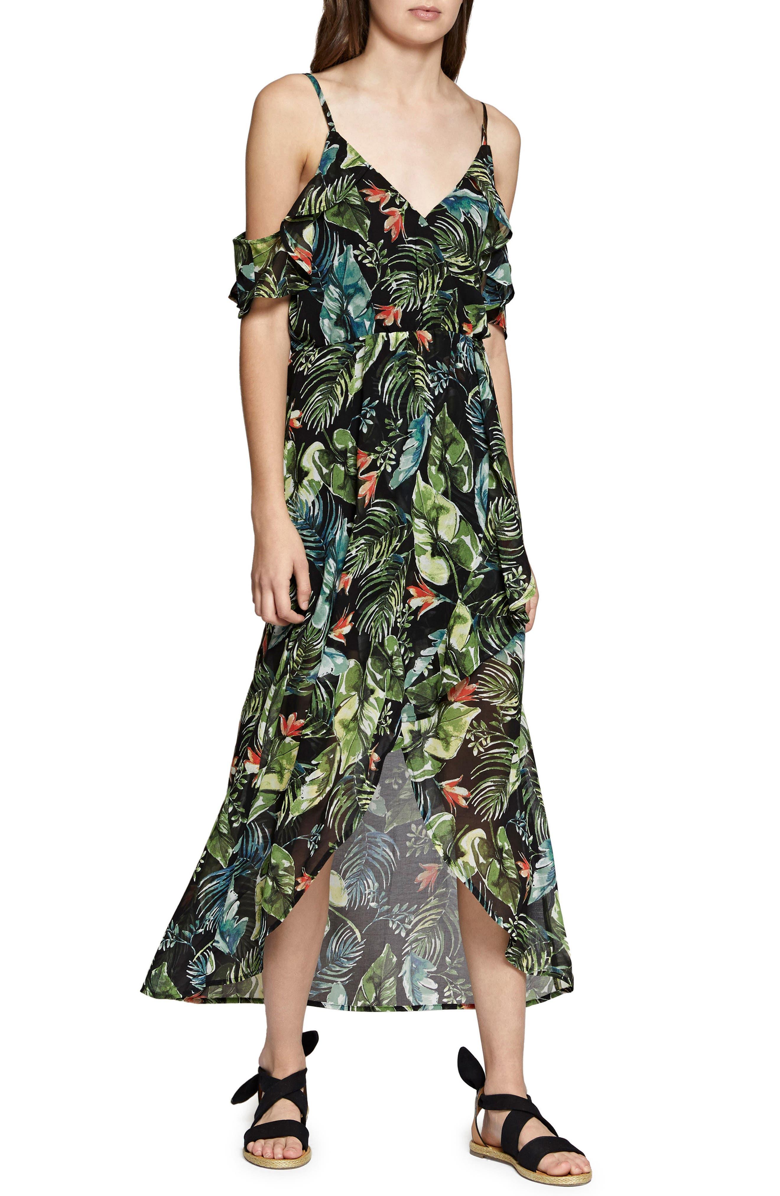 Sofia Ruffled Print Maxi Dress,                             Main thumbnail 1, color,                             Island Fever