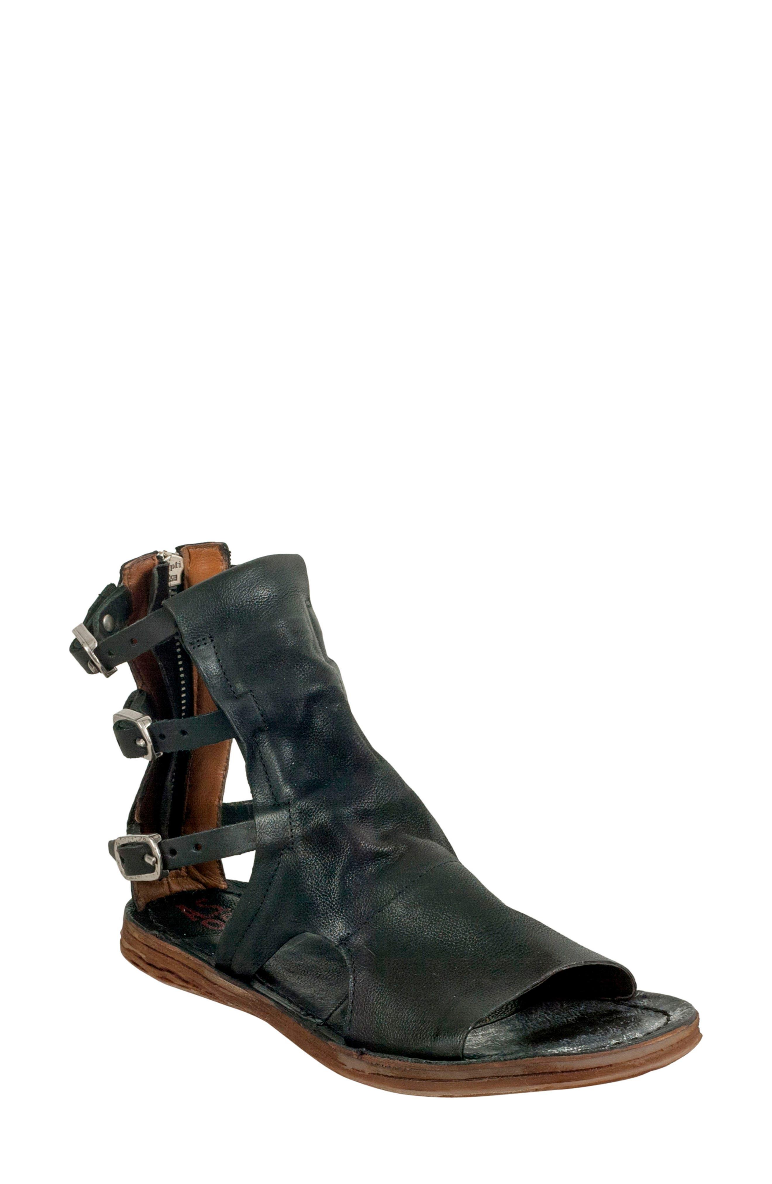 A.S.98 Ryde Sandal, Black Leather