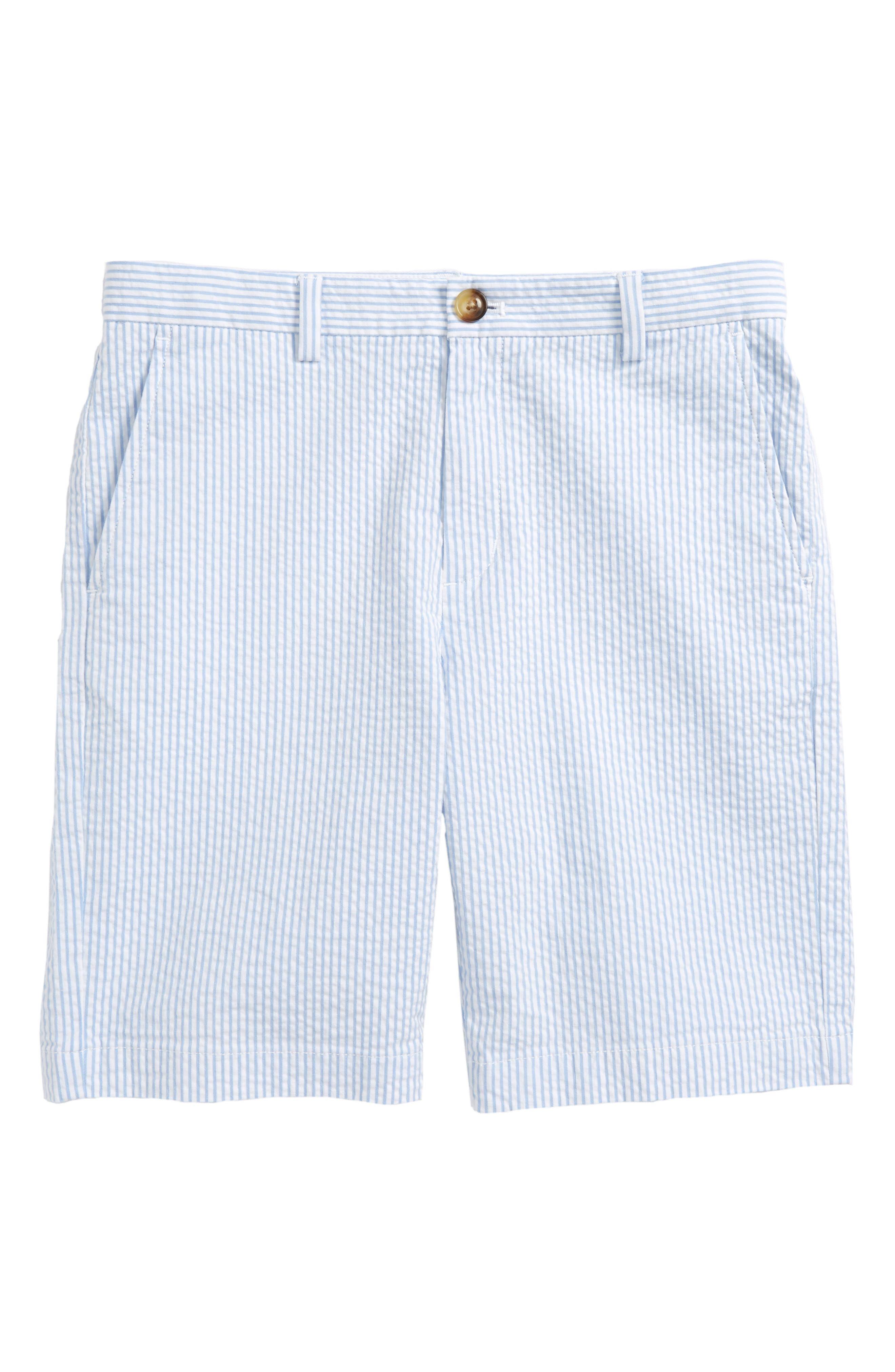 Seersucker Stripe Breaker Shorts,                             Main thumbnail 1, color,                             Ocean Breeze