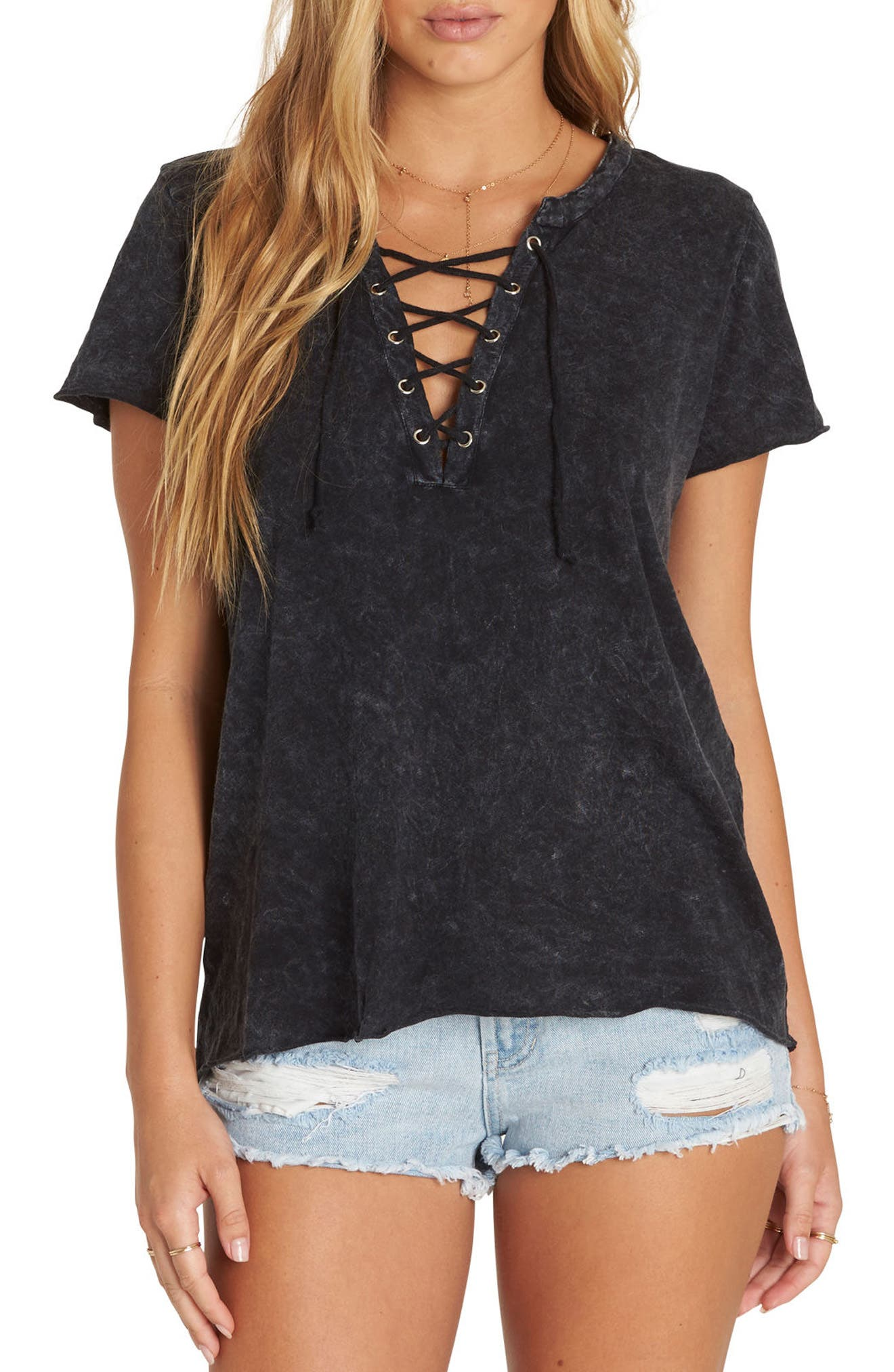 Let Loose Lace-Up Top,                         Main,                         color, Black