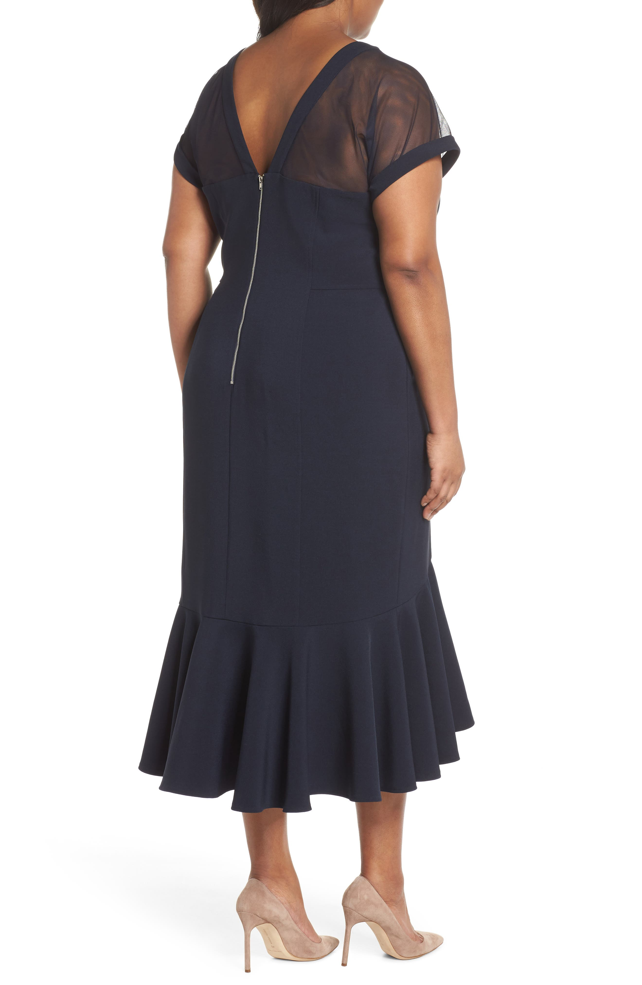 Illusion Flare Hem Midi Dress,                             Alternate thumbnail 2, color,                             Dark Navy