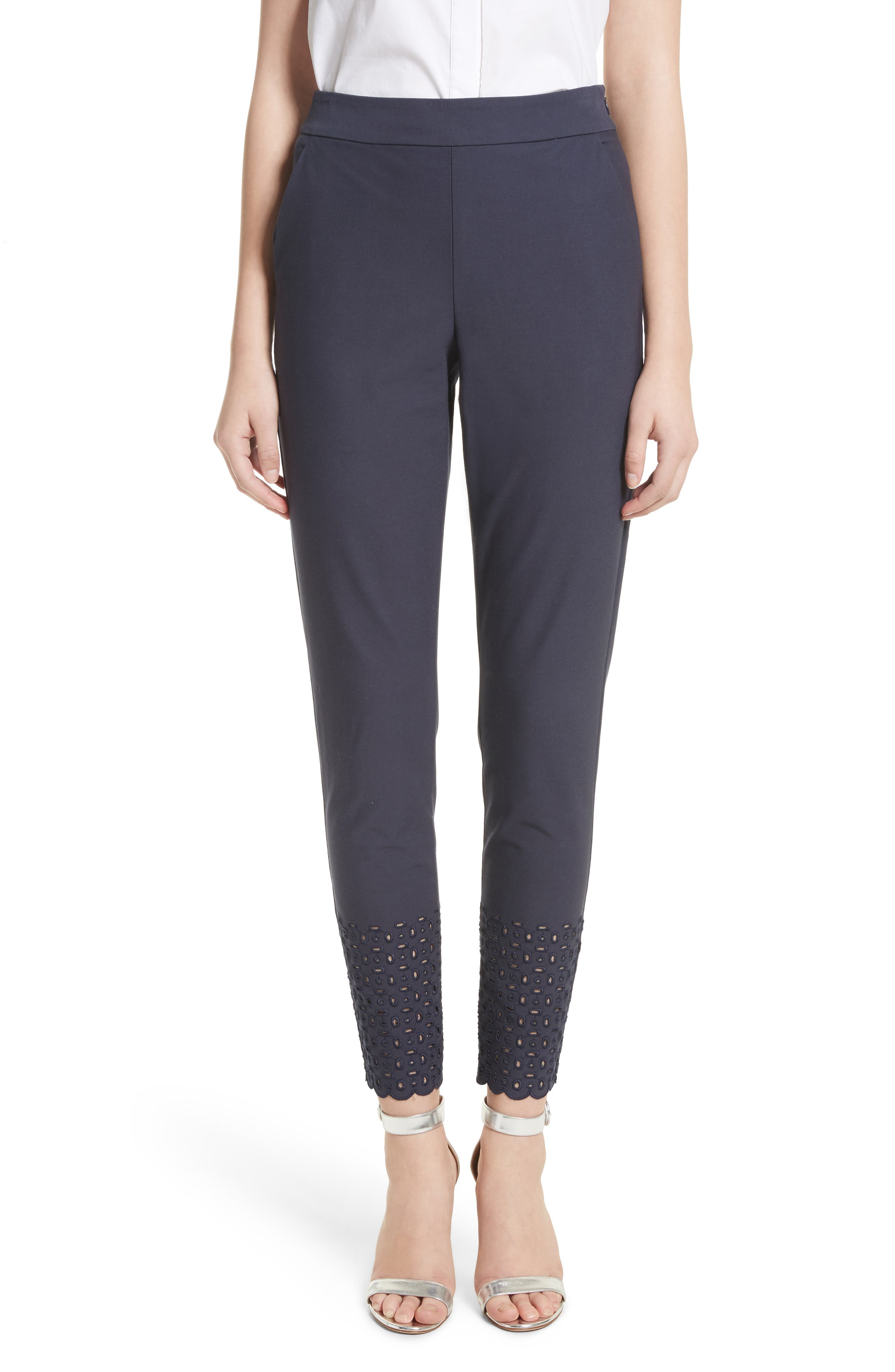 Eyelet Trim Stretch Twill Crop Pants,                             Main thumbnail 1, color,                             Anthracite