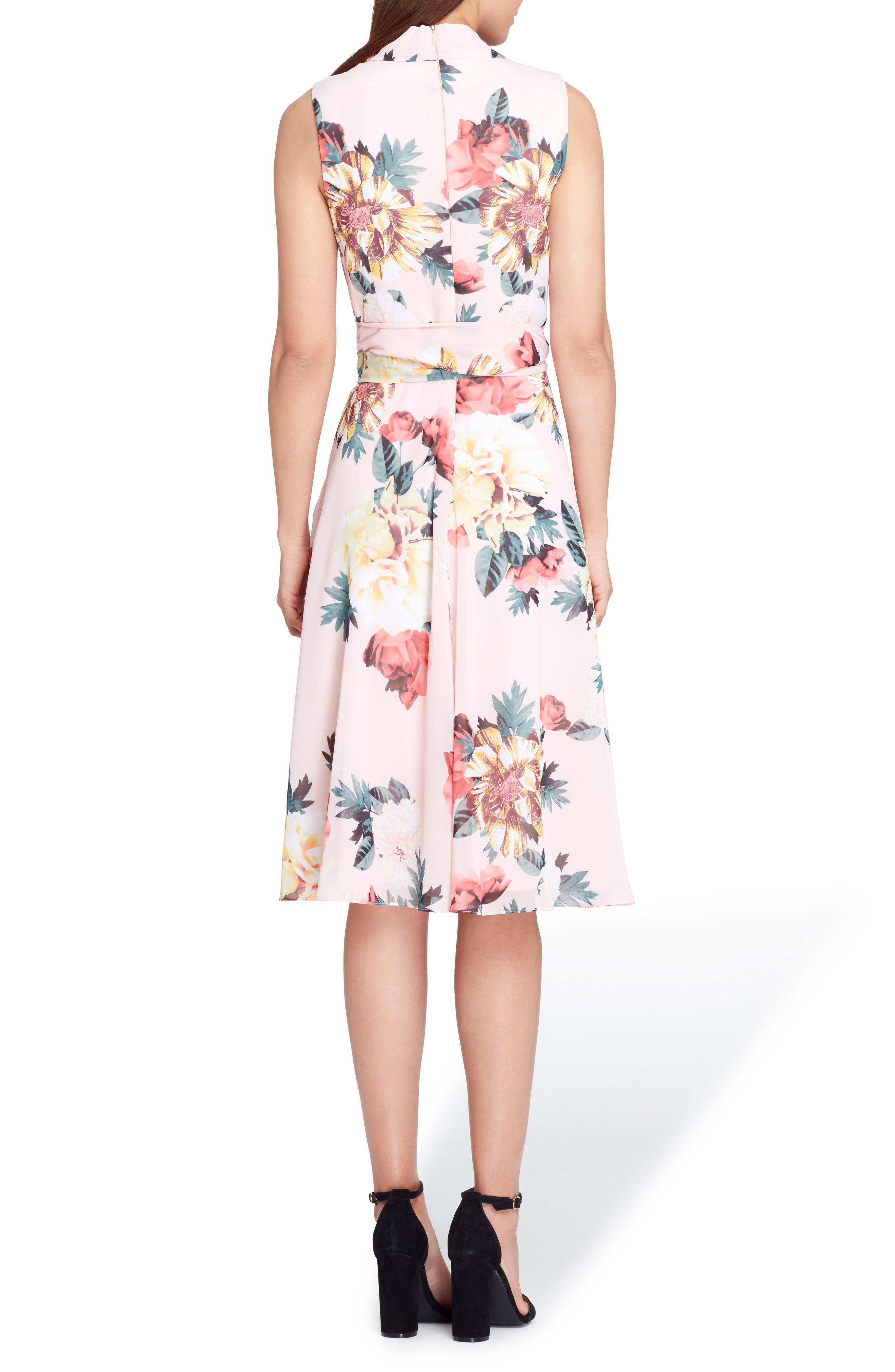 Floral Print Tie Waist Fit & Flare Dress,                             Alternate thumbnail 2, color,                             Blush/ Lemon/ Coral